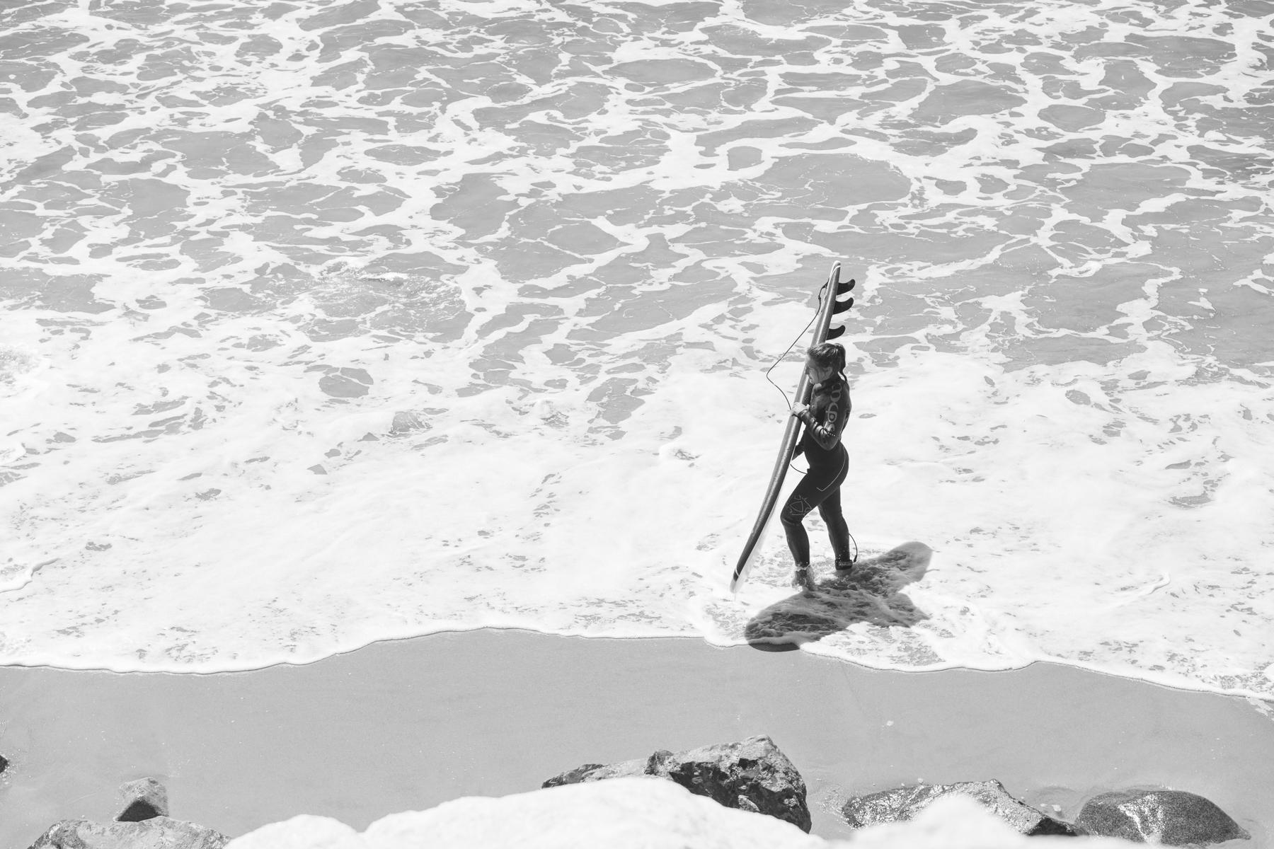 Female surfer in Malibu