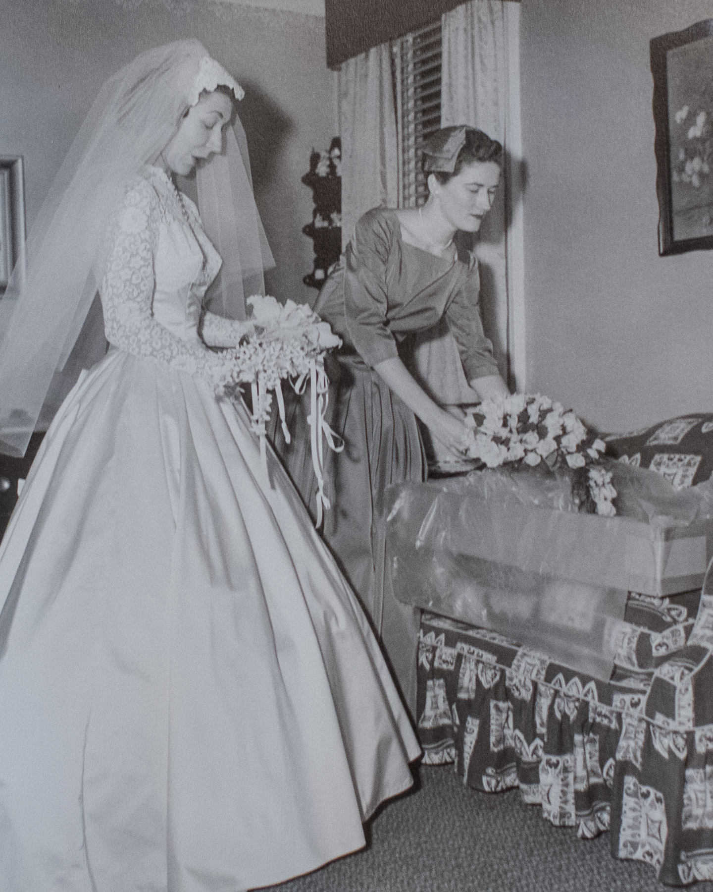 Mom and her Maid of Honor get their bouquets.  All shot in my grandparents' home in the Bronx on Perry Avenue!