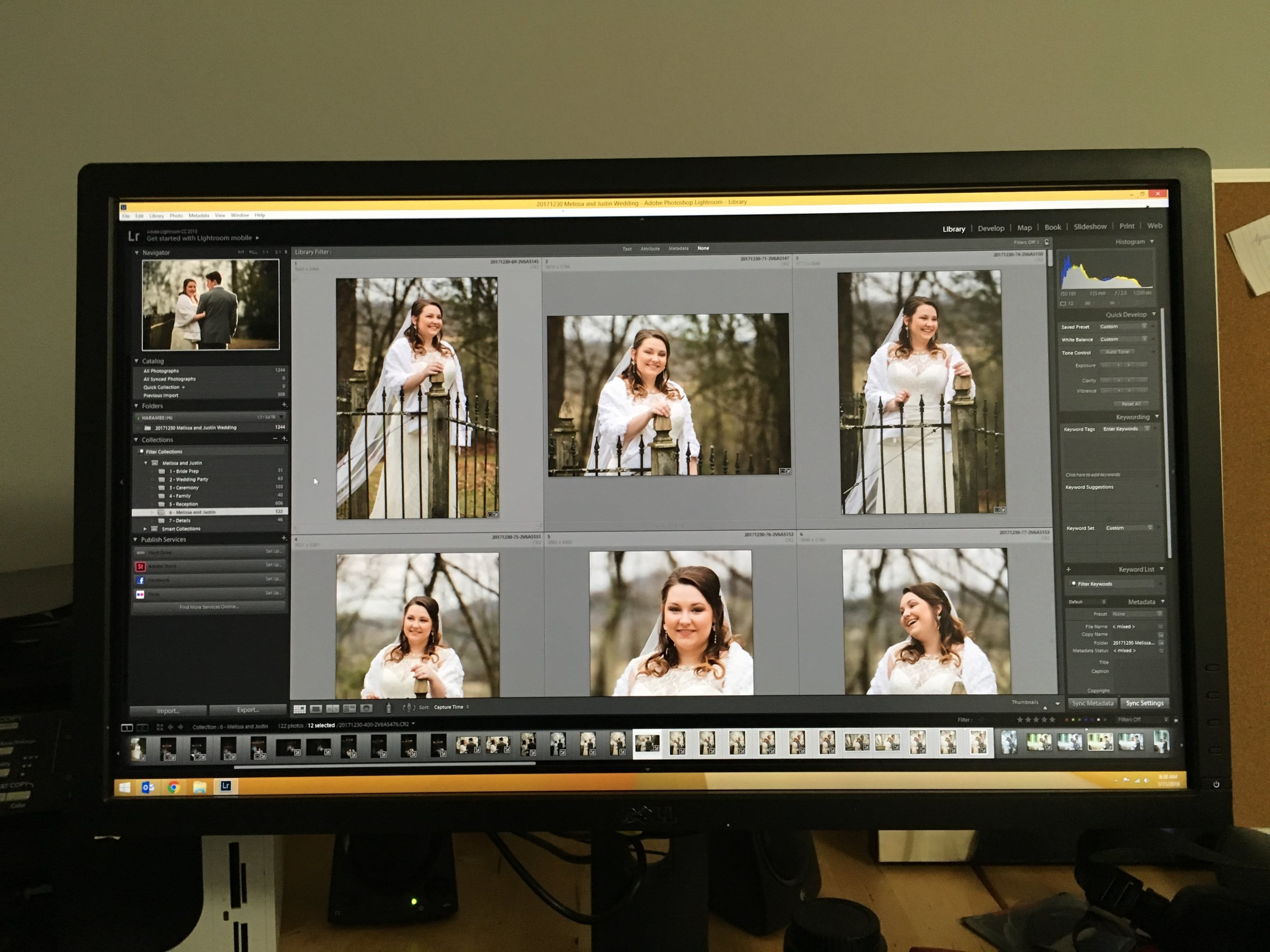My desk today. And no, this bride is not represented by this post - Melissa was perfect and gracious and lovely.