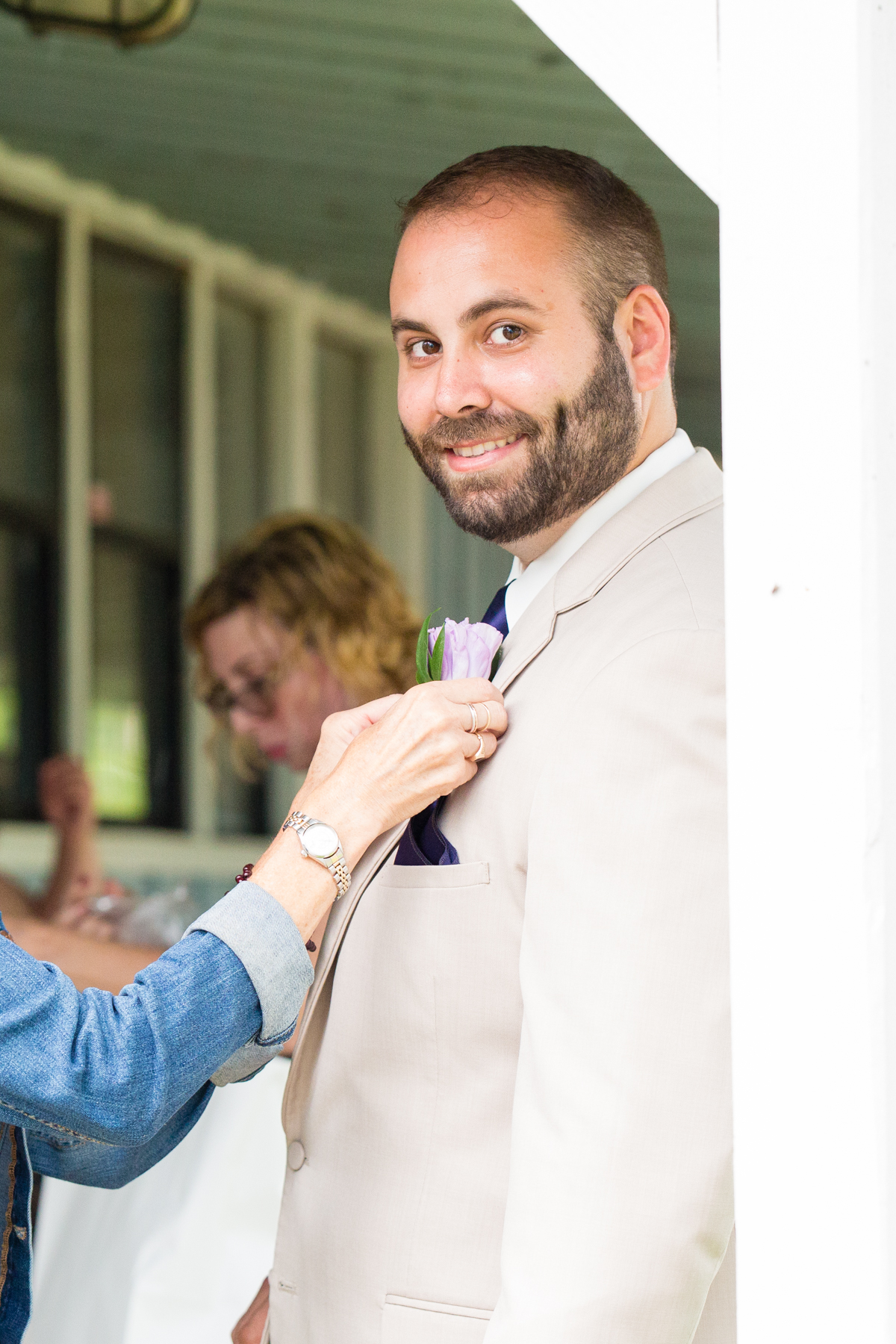 Joe still gamely got on his boutonniere