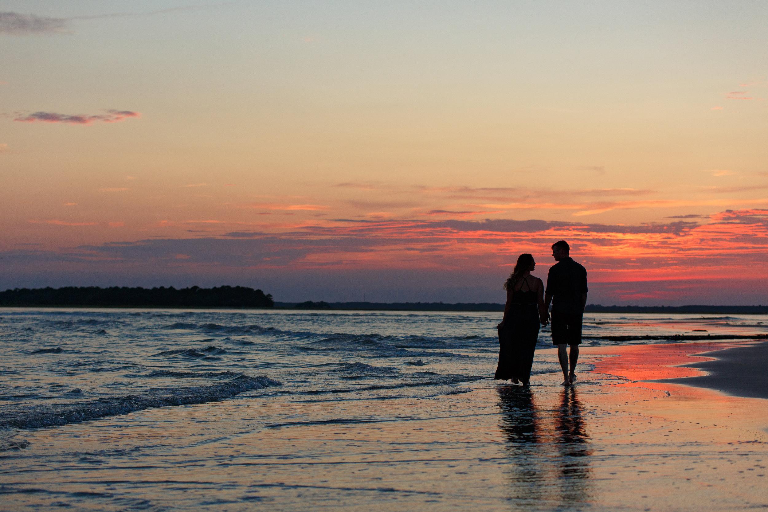 Couple at Sunset on Beach