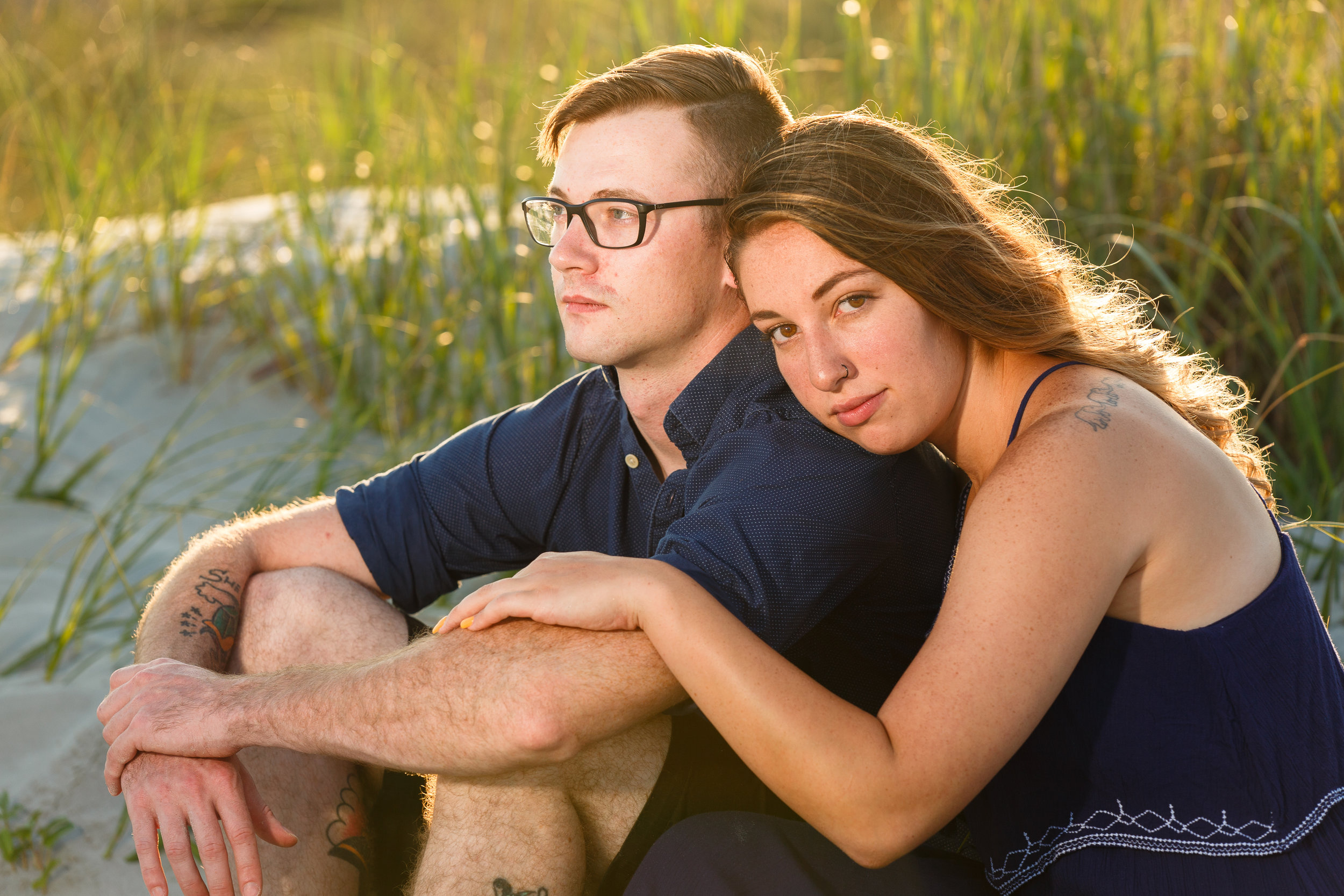 Backlit Couple by Beach Grass
