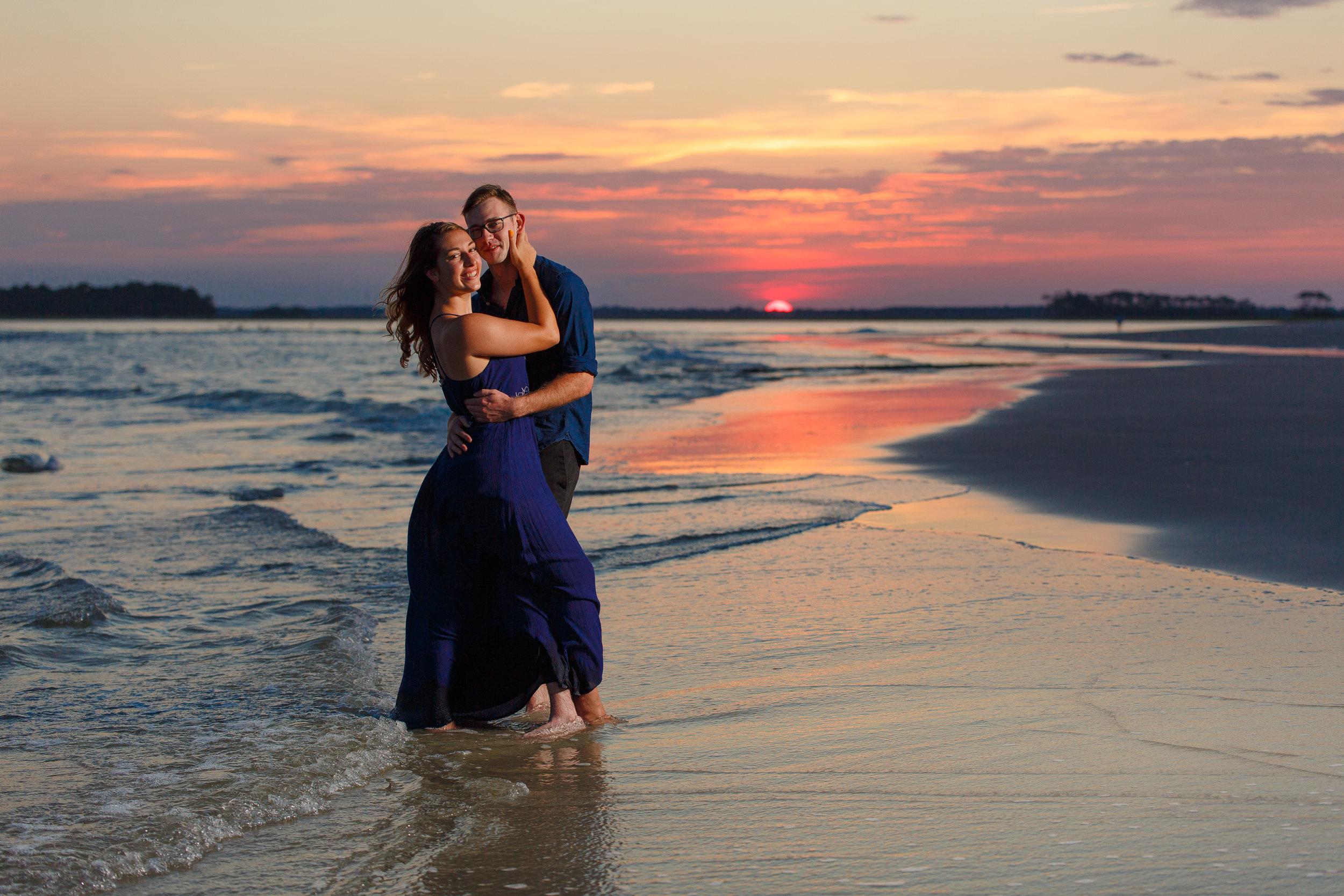 Couple with Folly Beach Sunset
