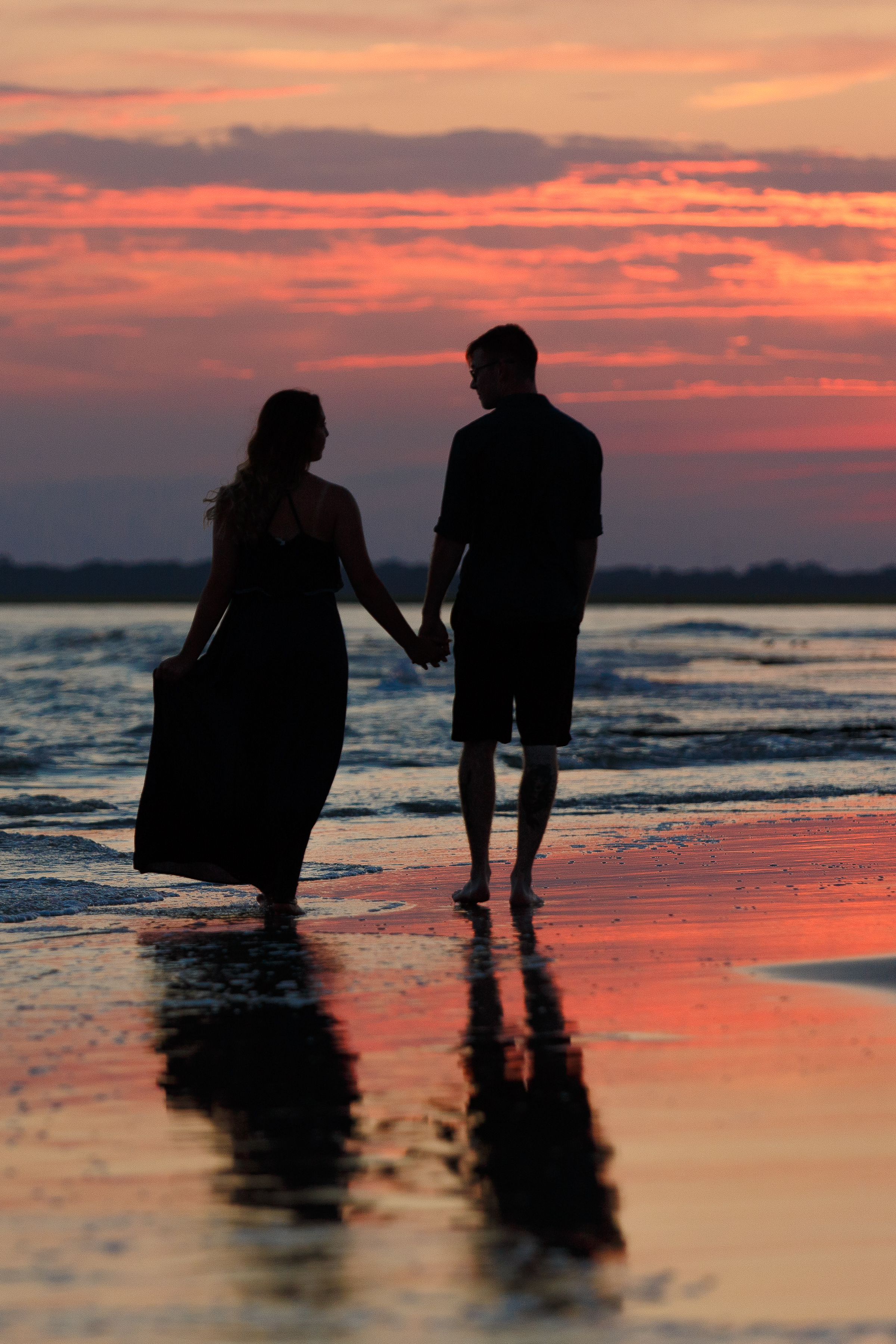 Couple Silhouetted with sunset