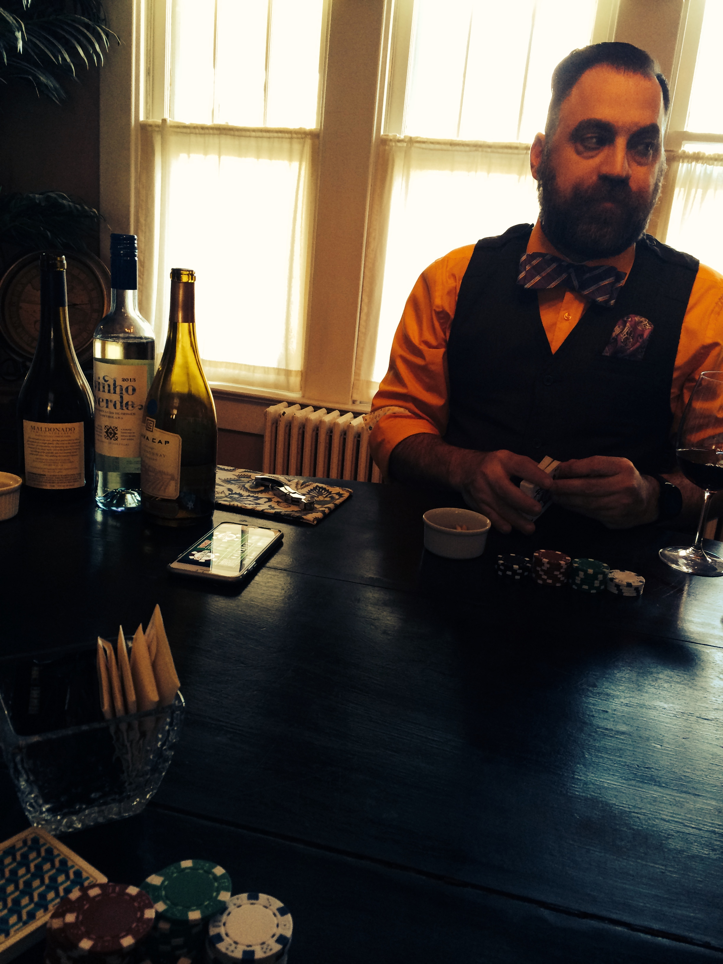 Join Alice and Eric (pictured here playing poker, drinking other wine, true, but always having fun) for complementary tastes of Pence during your dinner on Friday April 3rd.