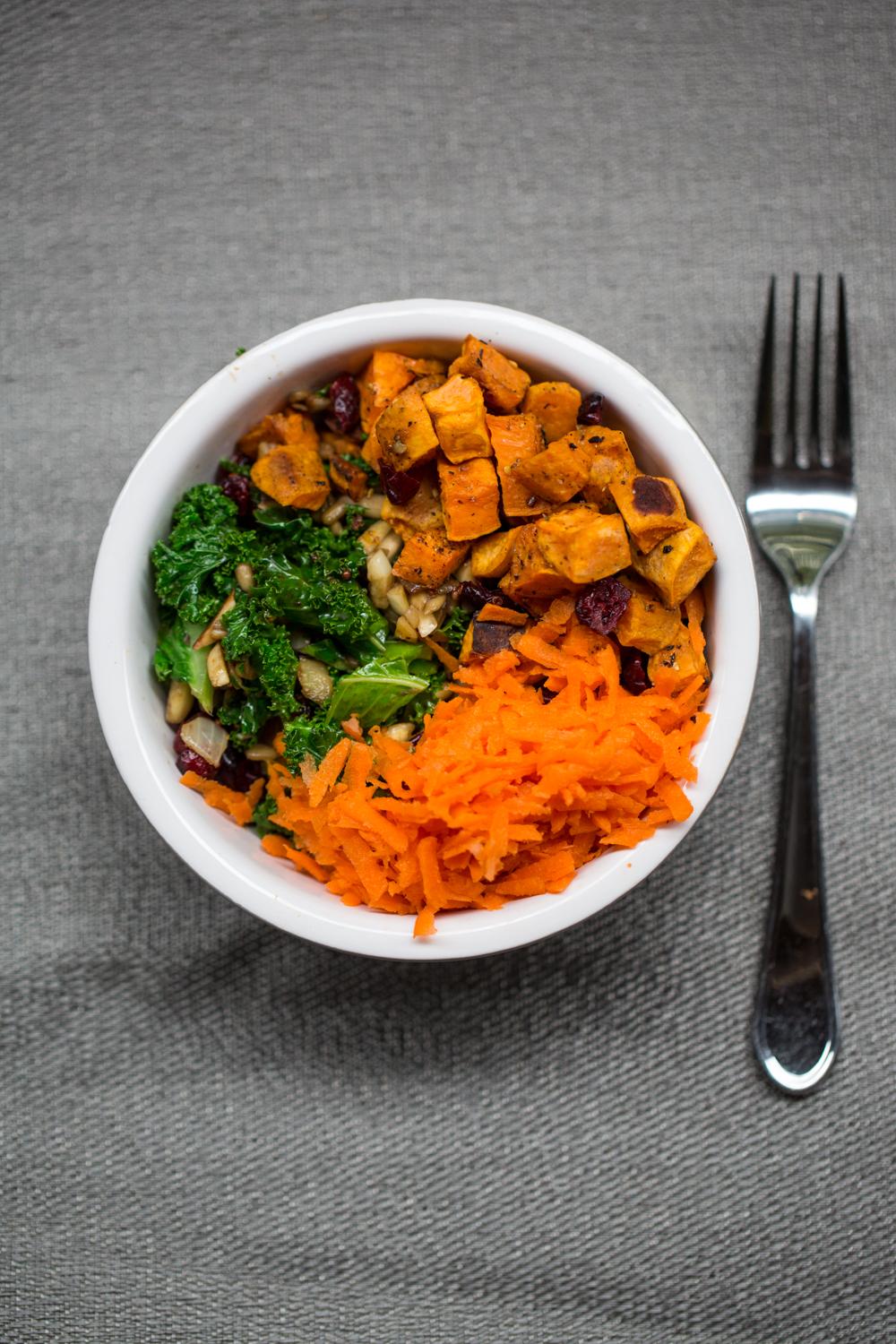 Kale Salad with yam carrot and cranberry -2014
