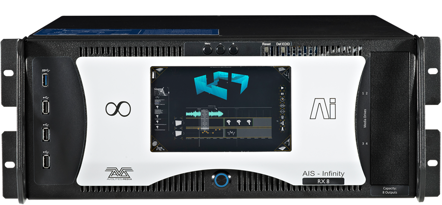 """- The multi-award winning Ai Infinity server is the perfect choice for your most demanding video projects. The RX4 and RX8 have programmable, EDID managed, WUXGA (1920x1200) outputs. Each is digitally amplified to give you a preview and production output over DVI. The back has in addition to the 4 or 8 DVI output pairs, the following outlets: LTC timecode input, 2 x Gigabit Network ports for connecting to Artnet networks, MIDI in & out ports, 4 lines of DMX512, Audio in and output, Genlock - essential for TV projects, and 2 x sync network connections to guarantee vertical sync across multiple systems.The front 7 inch colour touch screen shows the Ai 3D visualiser, this gives you networked control of your whole show from one integrated and intuitive interface, no matter how many outputs you need.The RX Range utilises an i7 processor with 6 cores running at 3.5Ghz. 16 Gbyte of memory and a fast 80GB System SSD. The Media content is contained on a 1TB PCIe NVMe Content drive. The workstation grade motherboard is housed in a purpose made suspension frame inside the 19"""" 4U height rack case."""