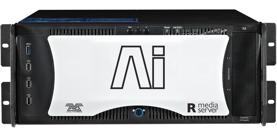 - The Ai R4 and R8 offer 4 and 8 display port/DVI outputs and up to 12 layers and 8 outputs depending on project configuration, with top spec, fully featured Miami licences.Hardware includes the latest generation motherboards supporting PCI-Express Generation 3.0, AMD Gen 3 Graphics Cards and a 1TB PCIe NVMe Content drive.Ai R4 & R8 servers offer MIDI Timecode inputs and supports ArtNet and CK Ki-Net output protocols.