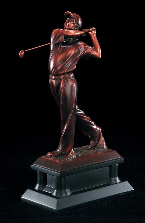 """Golfer, Male: Bronze Metallic Resin    Large:  66621Z - 16"""" tall -  $149    Medium:  65621Z - 14"""" tall -  $123    Small:  64621Z - 12"""" tall -  $98"""