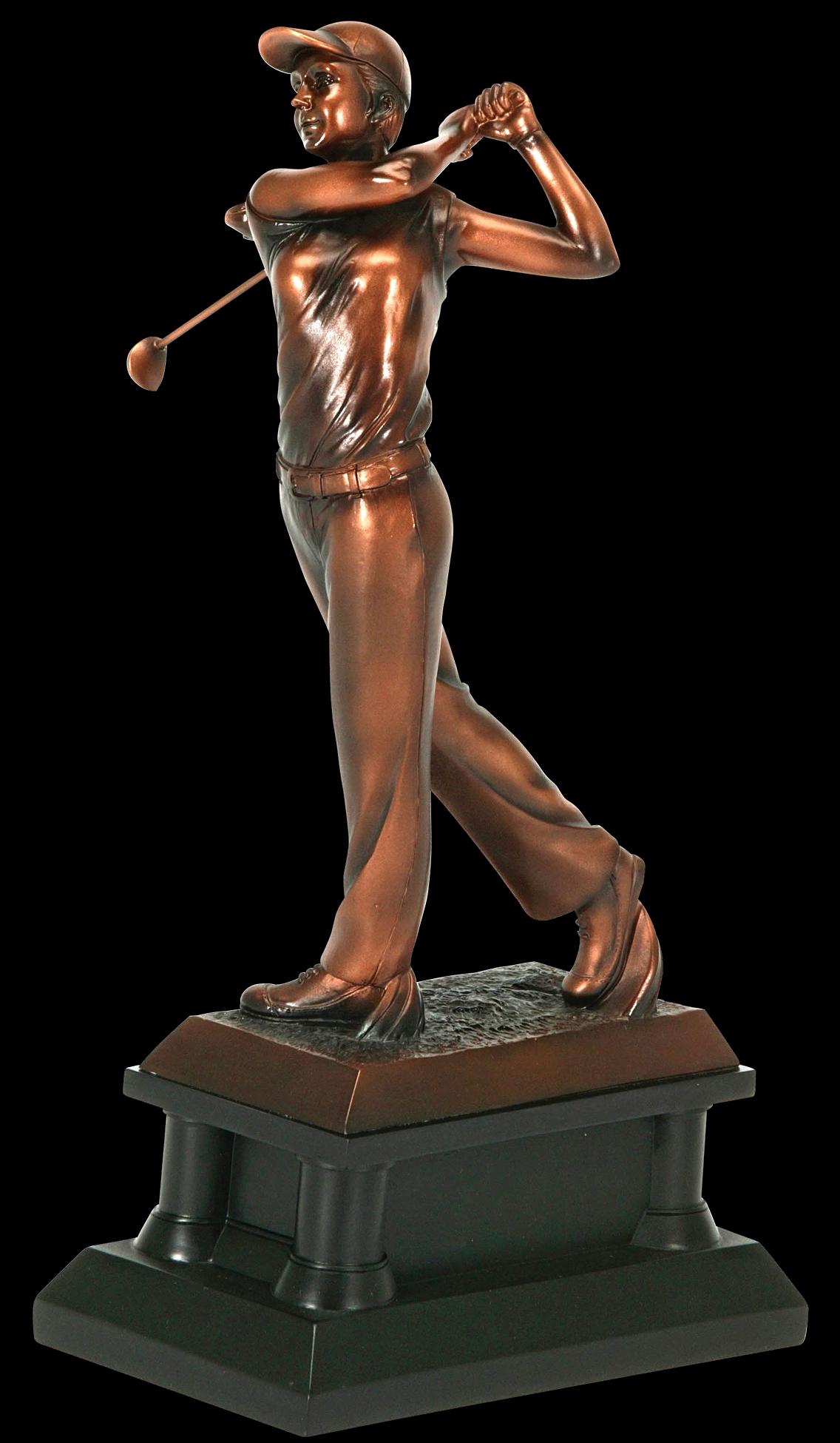 "Golfer, Female: Bronze Metallic Resin    Medium:  65622Z - 14"" tall   Price = $130"