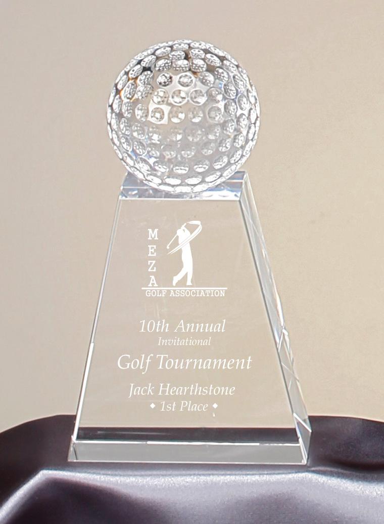 """Crystal Golf Ball    Large:  96908 - 7.75"""" tall -  $117    Medium:  96907 - 6.75"""" tall -  $107    Small:  - 96906 - 5.75"""" tall -  $96"""