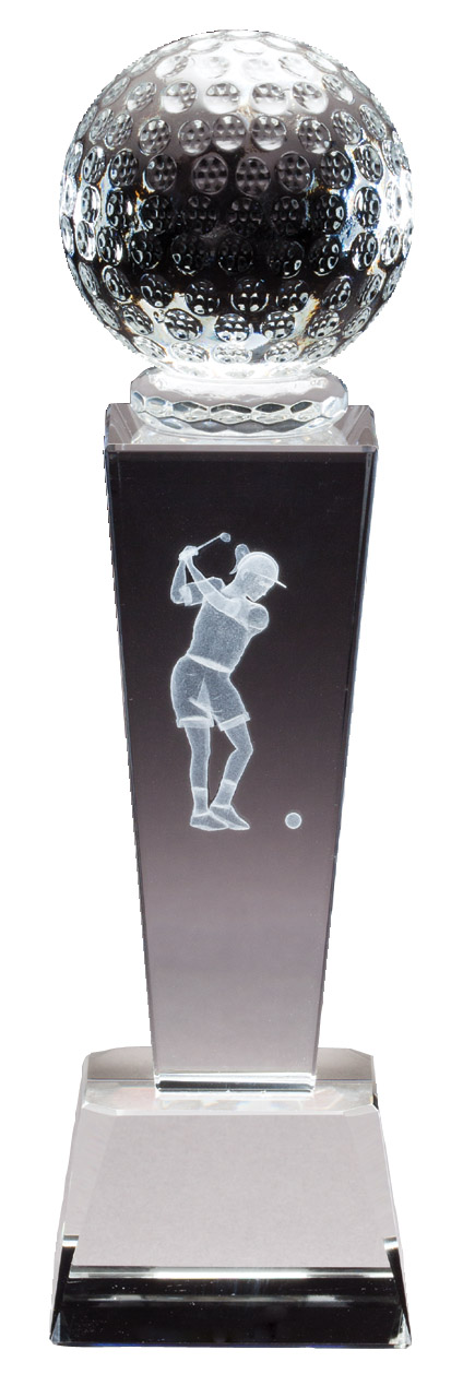 "Collegiate Series - Crystal Golf, Female   CRY293 - 8.75"" tall x 2.5"" wide   Price = $57"