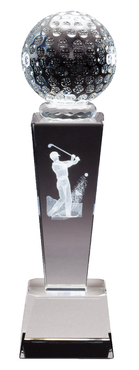 "Collegiate Series - Crystal Golf, Male   CRY213 - 8.75"" tall x 2.5"" wide   Price = $57"