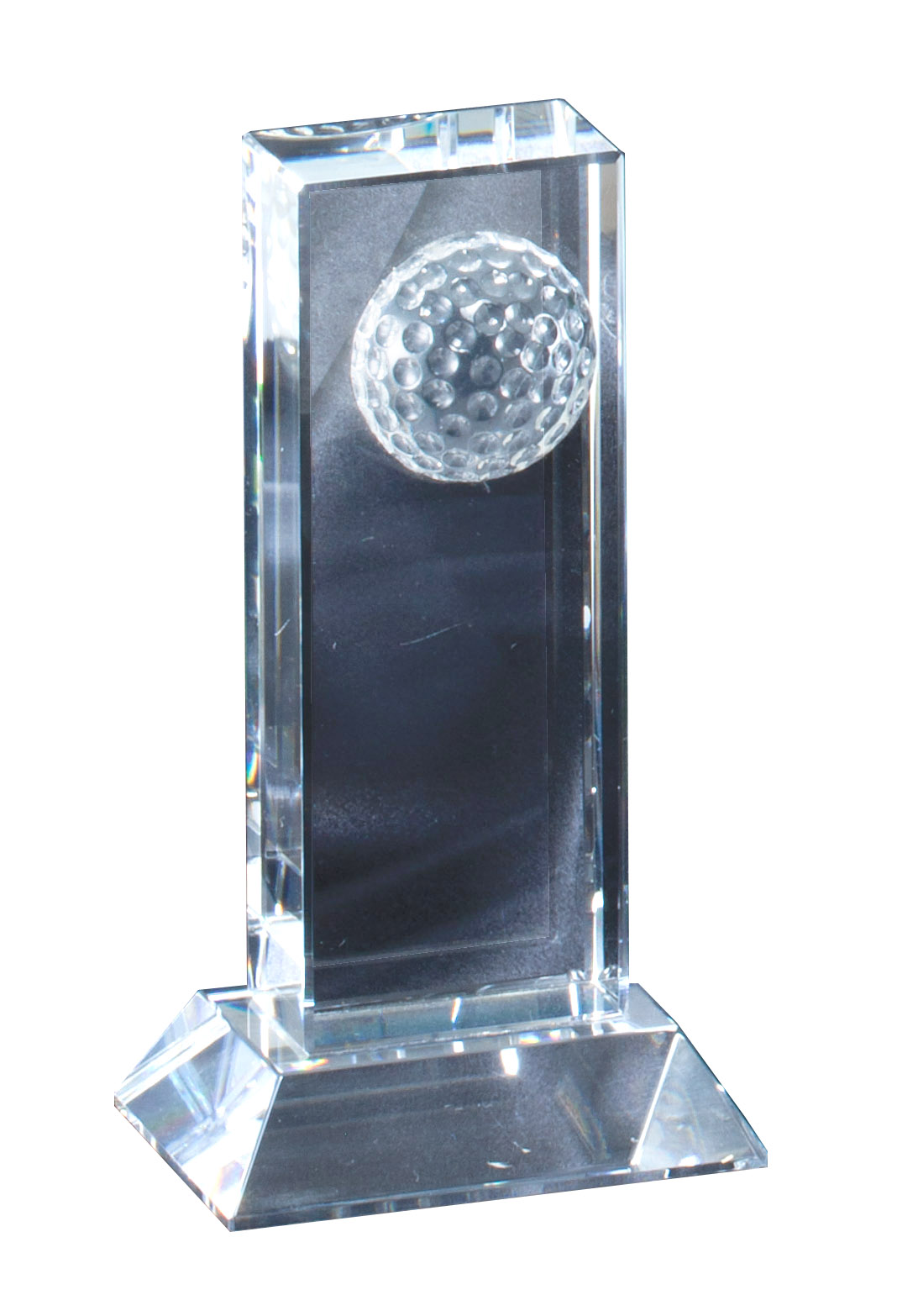"Half Golf Ball on Crystal Block   CRY385 - 6"" tall x 3.25"" wide   Price = $47"