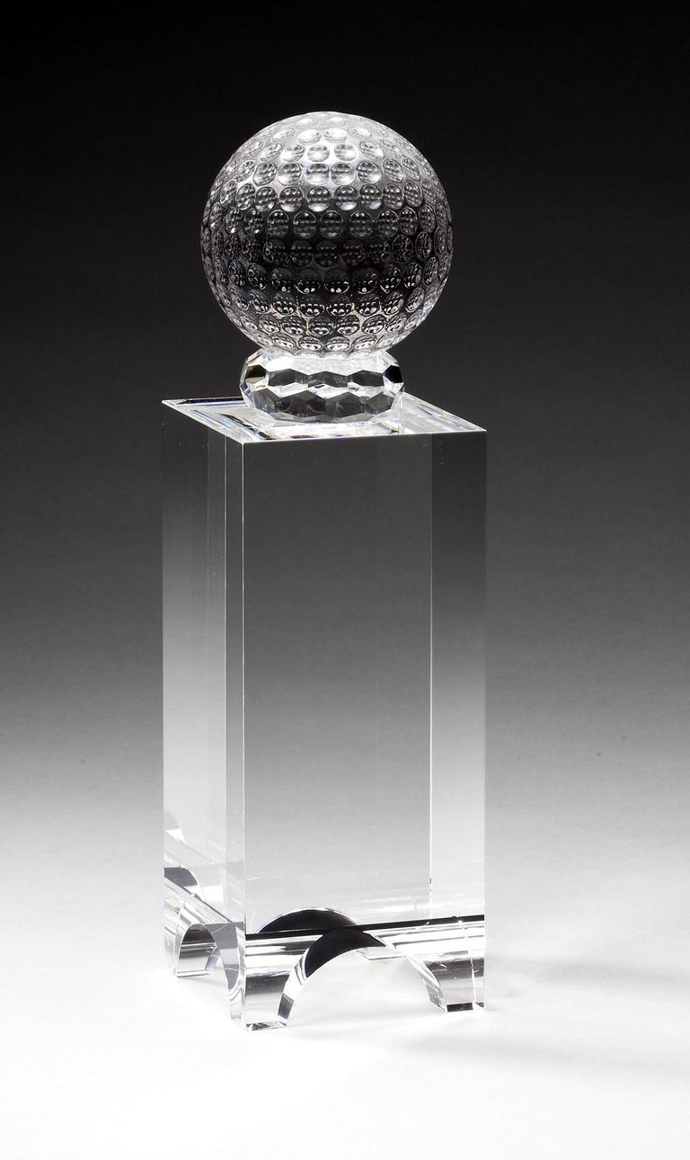 "Crystal Golf Ball on Stand    Large:  CRY179 - 8.25"" tall x 2.25"" wide -  $117    Medium:  CRY178 - 7.5"" tall x 2.25"" wide -  $91"