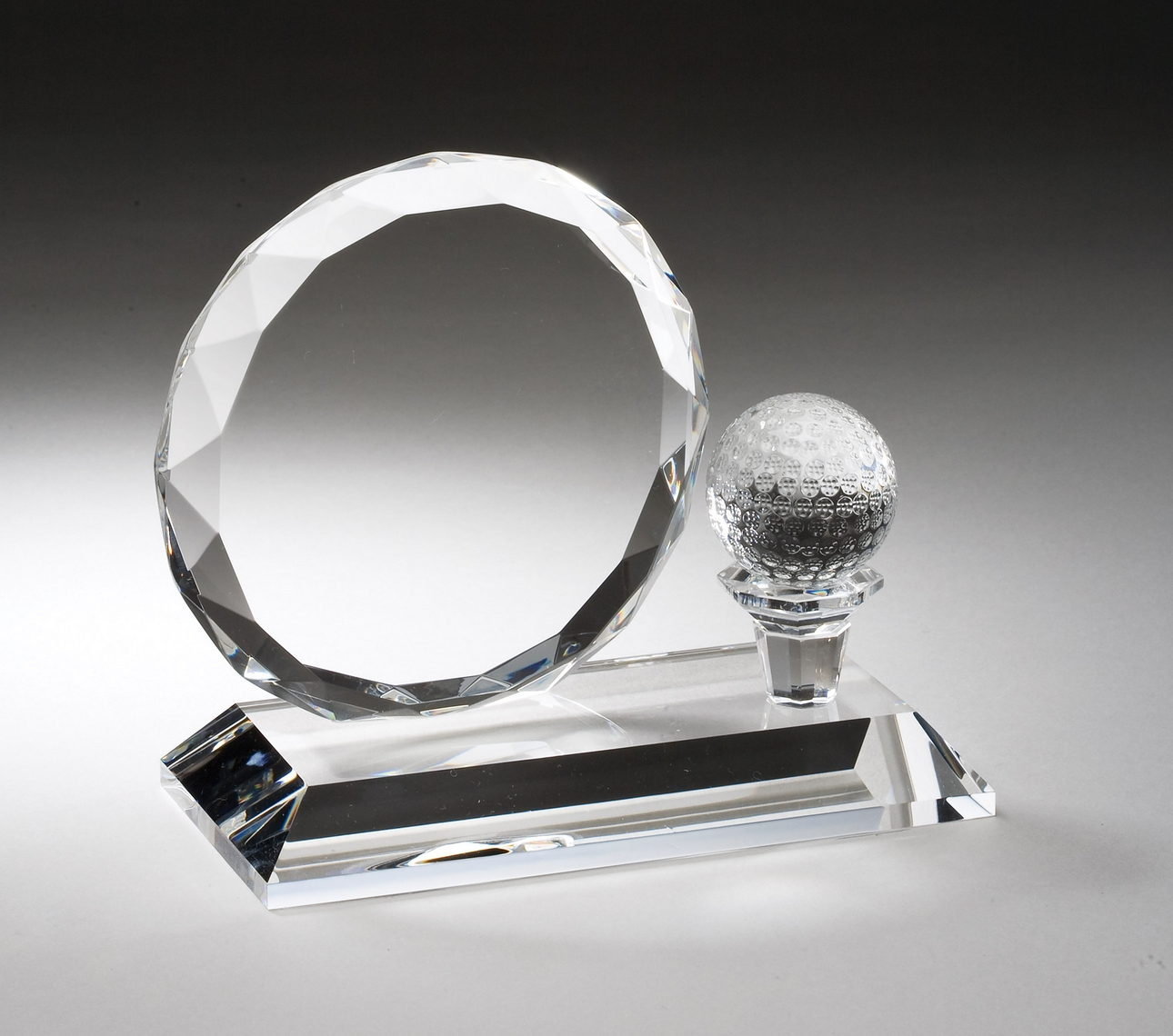 "Crystal Round with Golf Ball   CRY161 - 5.25"" tall x 6"" wide   Price = $90"