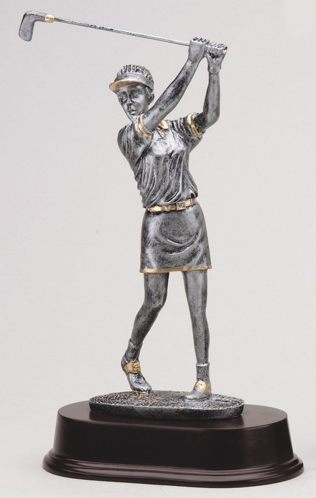"Pewter Finish -Swing, Female with Visor    Medium:  RF2056SG - 9.5"" tall   Price = $32"