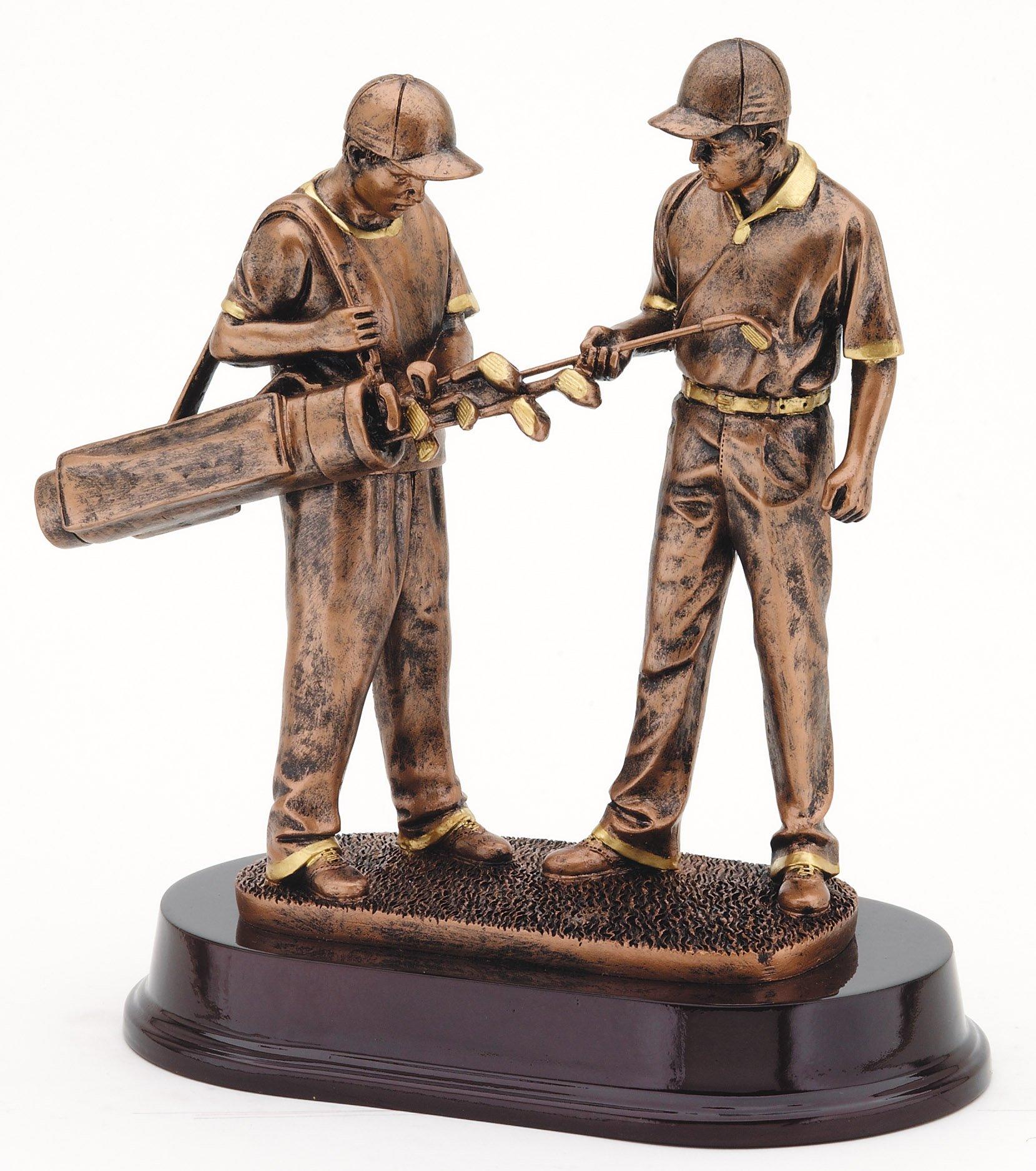 "Bronze Finish - Golfer & Caddie   RFMP111B - 9.5"" tall   Price = $70"