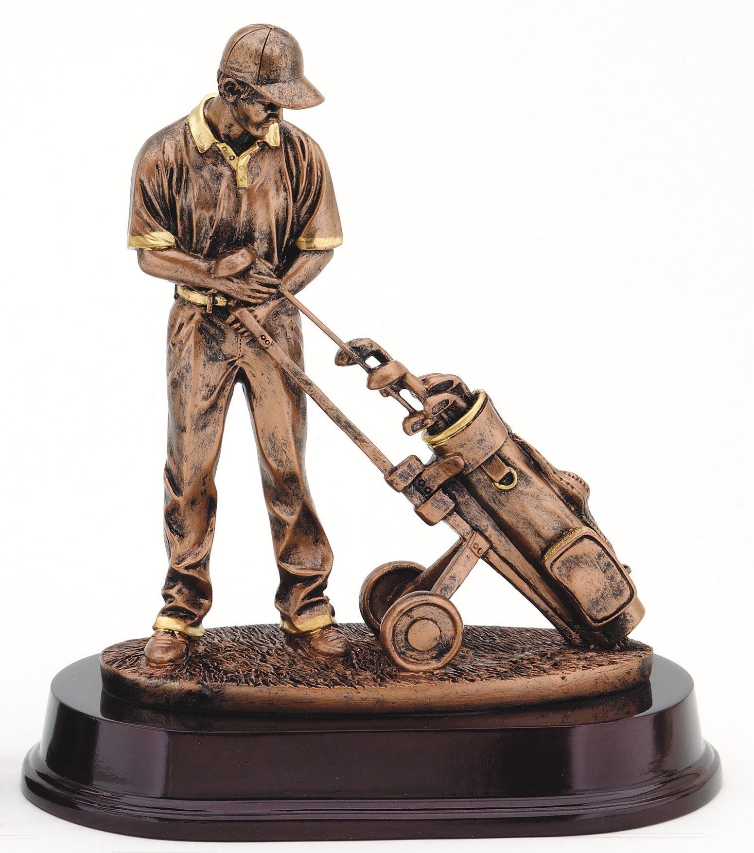"Bronze Finish - Golfer & Pull Cart   RFMP101B - 9"" tall   Price = $69"