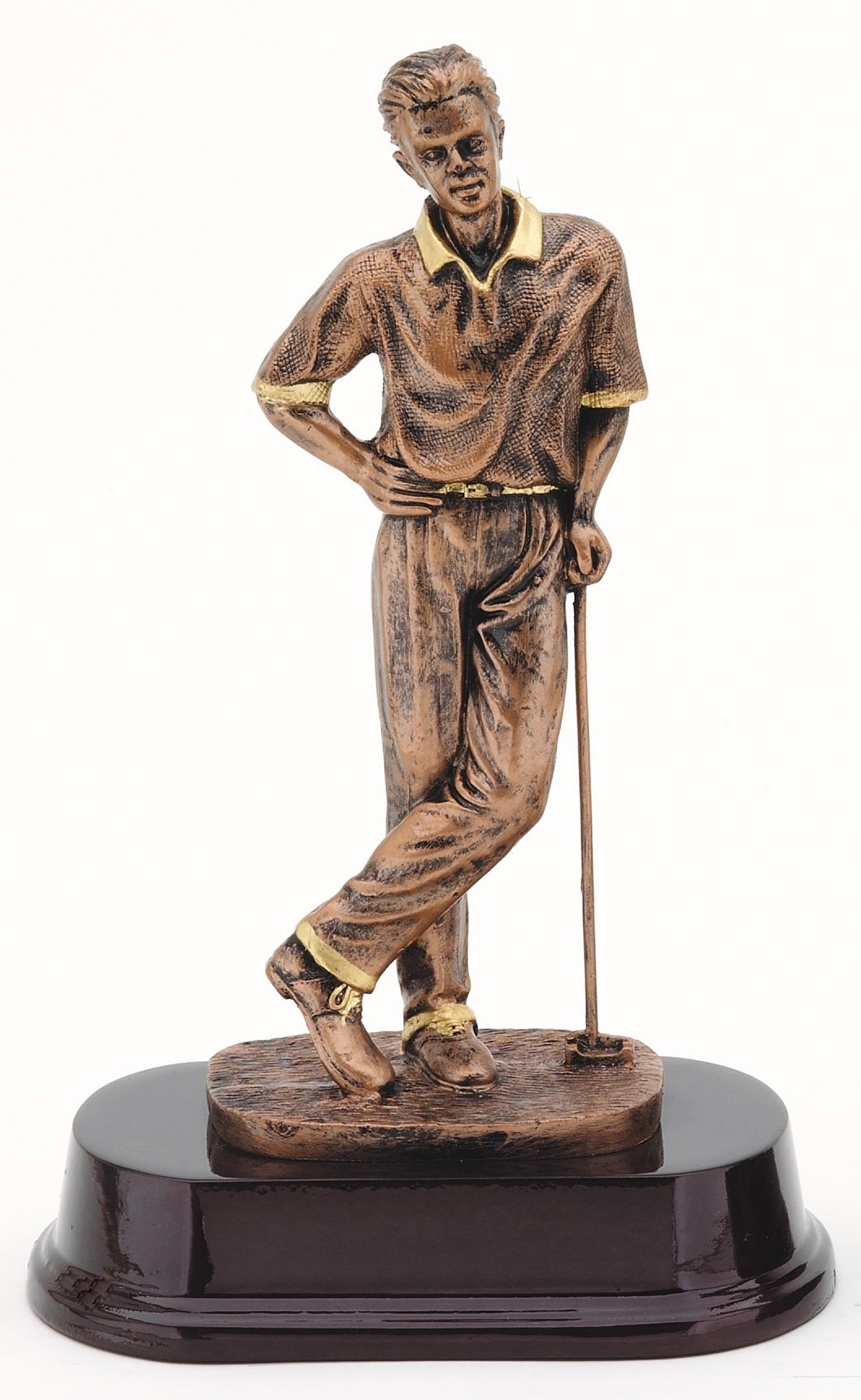 "Bronze Finish - Golfer Posed   RJ262B - 9"" tall   Price = $43"