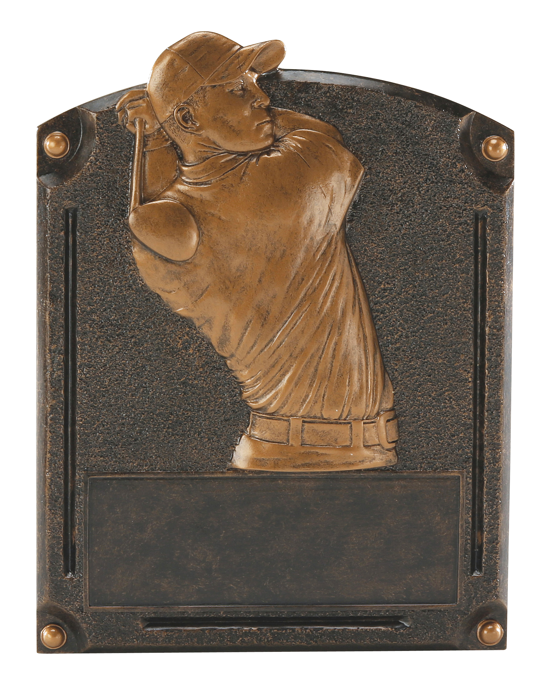 "Legends of Fame Series - Golf, Male   54721GS - 8"" tall x 6"" wide  Can stand up or hang on wall   Price = $22"