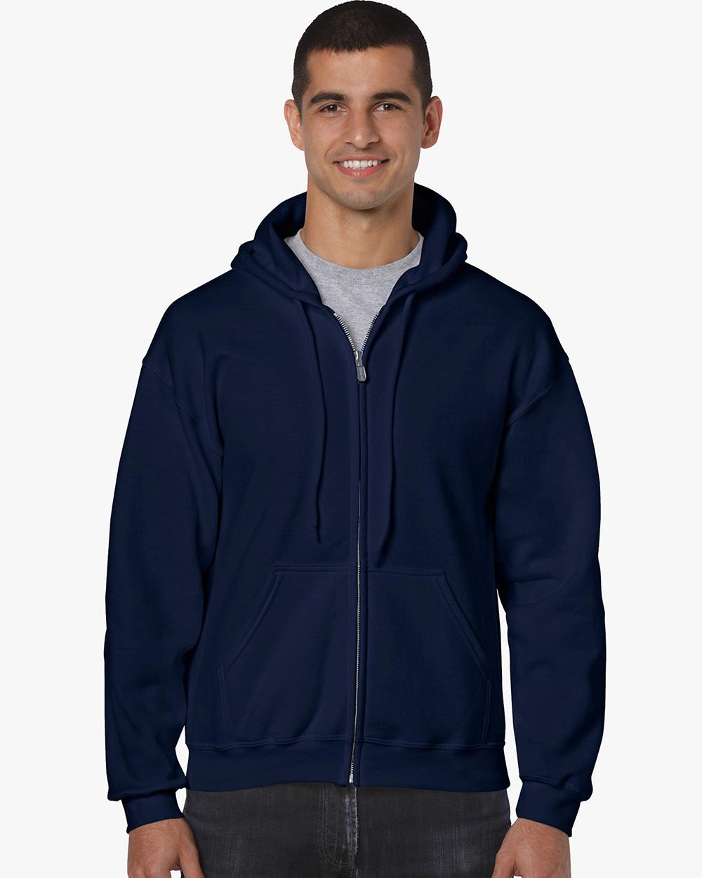 Gildan 18600     Classic Fit Adult Full Zip Sweatshir  t    50% Cotton / 50% Polyester Fleece