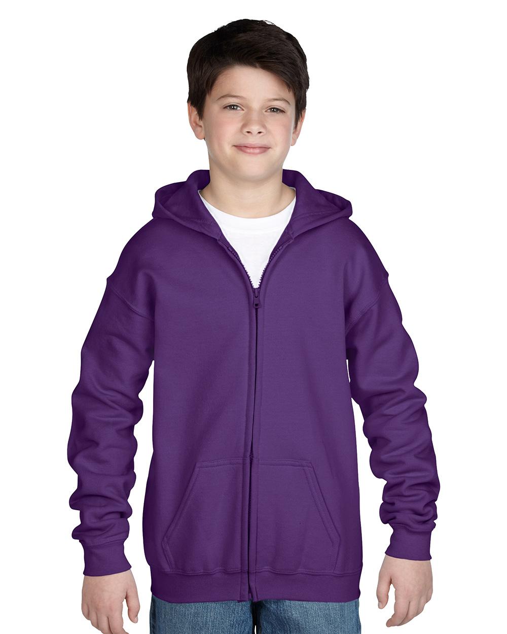 Gildan 18600B     Classic Fit Youth Full Zip Sweatshir  t    50% Cotton / 50% Polyester Fleece