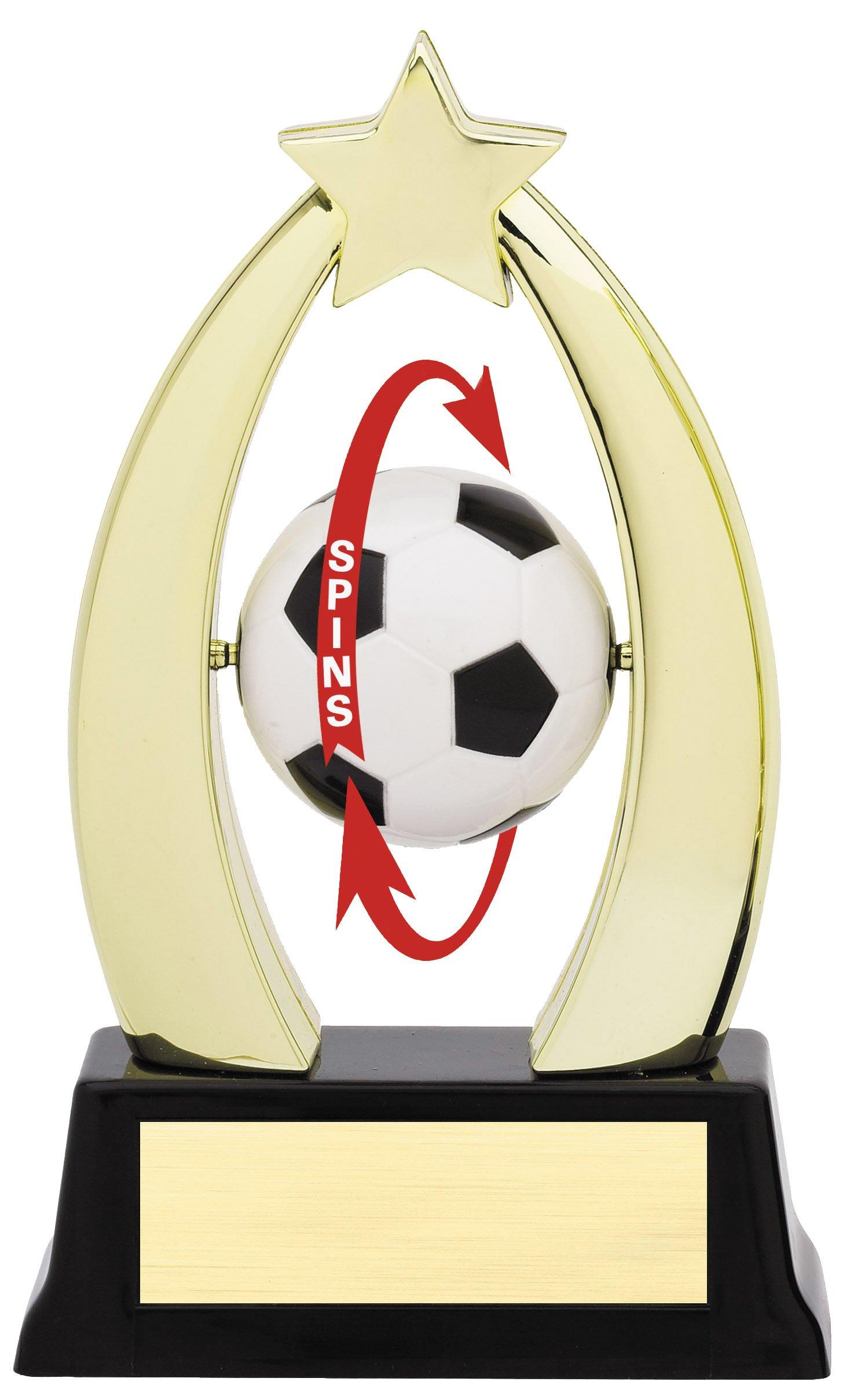 "Star Spinner - Soccer   SPIN 10-13 - 7"" tall with Spinning Soccer Ball"