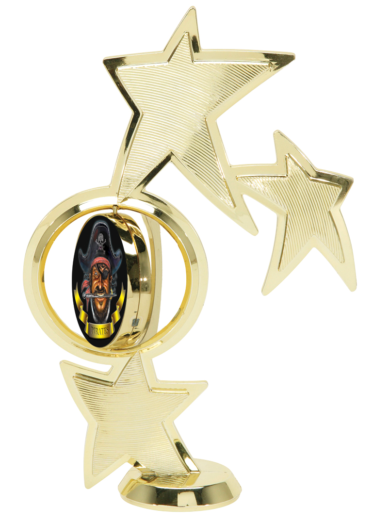 """2"""" Mylar Spin Star Figure   45100-G - 8"""" tall with Spinning 2"""" Disk"""