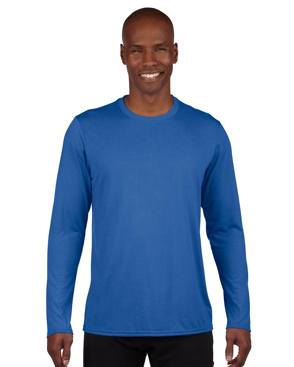 Gildan 42400     Adult Long Sleeve Performance    4.5 oz. 100% Polyester (Cotton Feel)