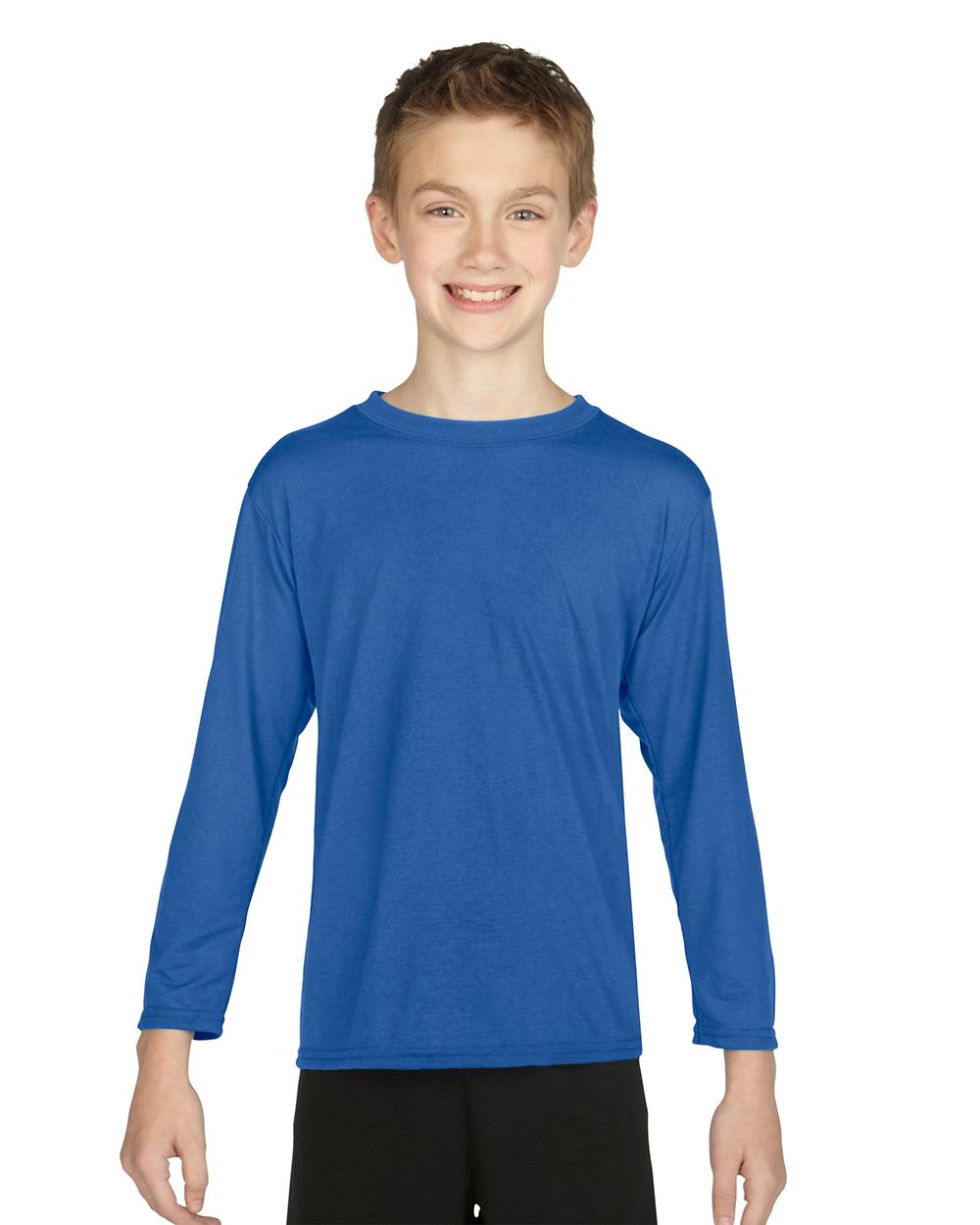 Gildan 42400B     Youth Long Sleeve Performance    4.5 oz. 100% Polyester (Cotton Feel)