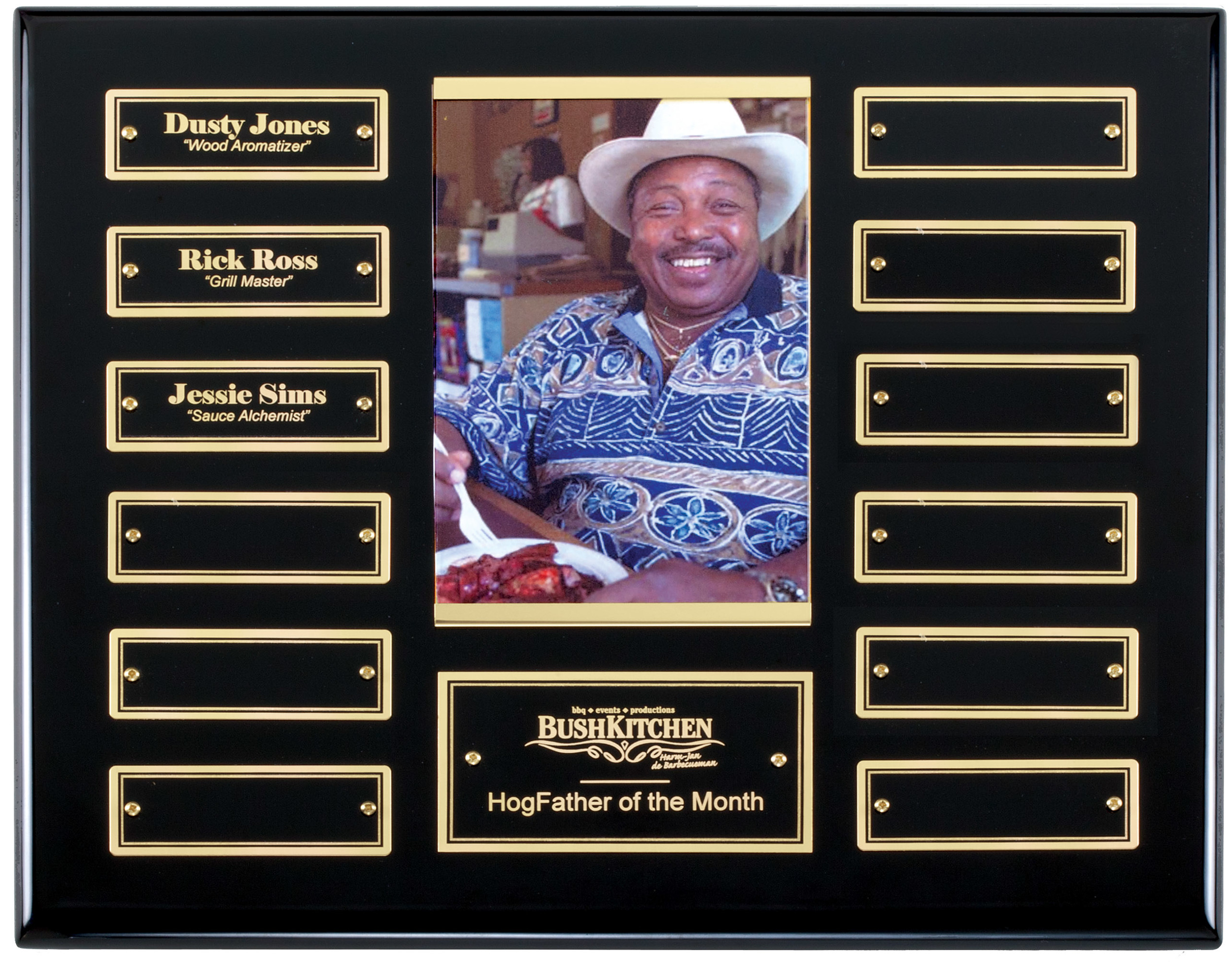 """Perpetual Plaque with Photo - APT515D-G   10.5"""""""" x 13"""" with 12 gold trim plates (1"""" x 3"""") - Ebony Piano Finish   Price = $135  (Includes engraving on title plate and one name plate)"""