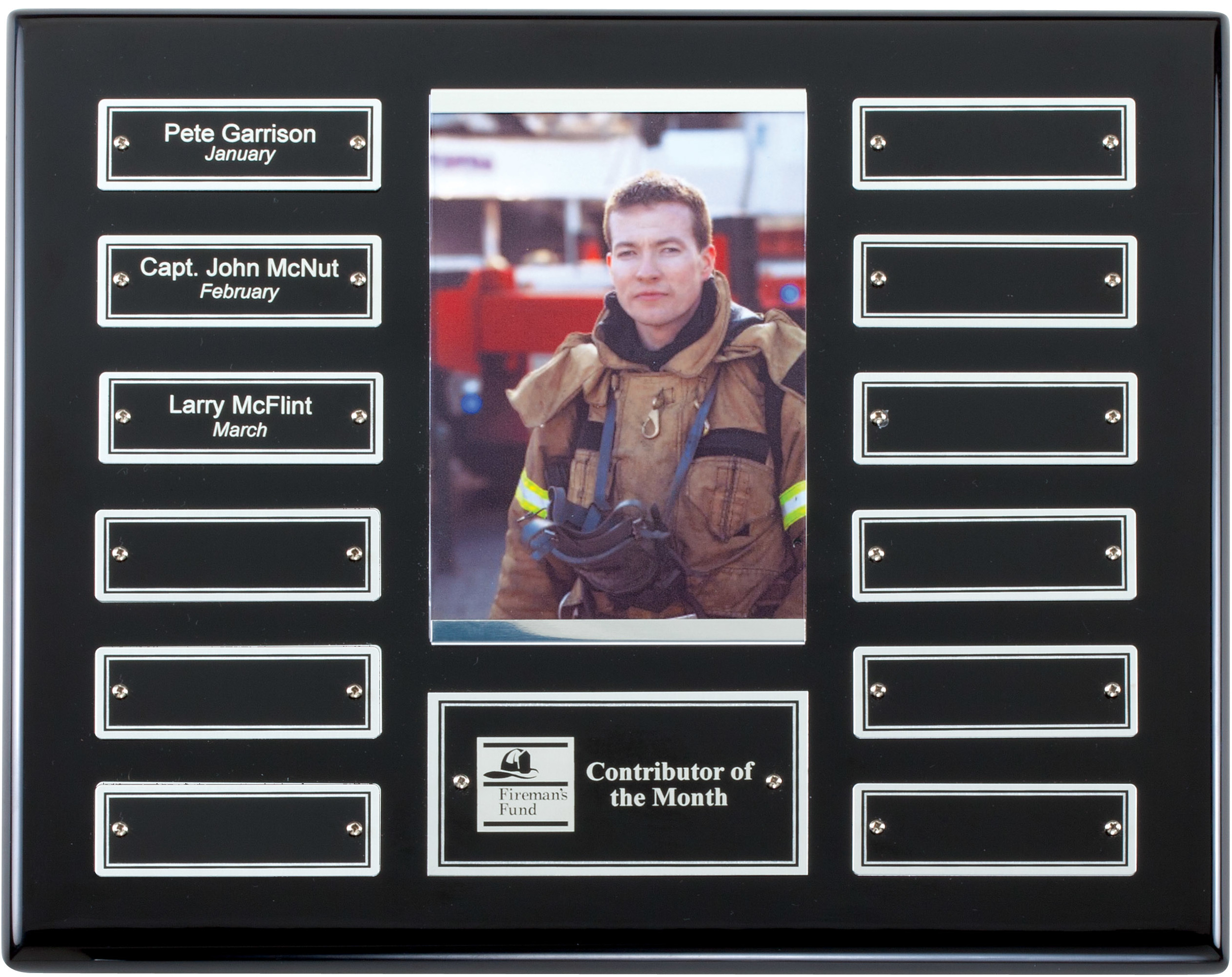 """Perpetual Plaque with Photo - APT515D-S   10.5"""""""" x 13"""" with 12 Silver trim plates (1"""" x 3"""") - Ebony Piano Finish   Price = $135  (Includes engraving on title plate and one name plate)"""