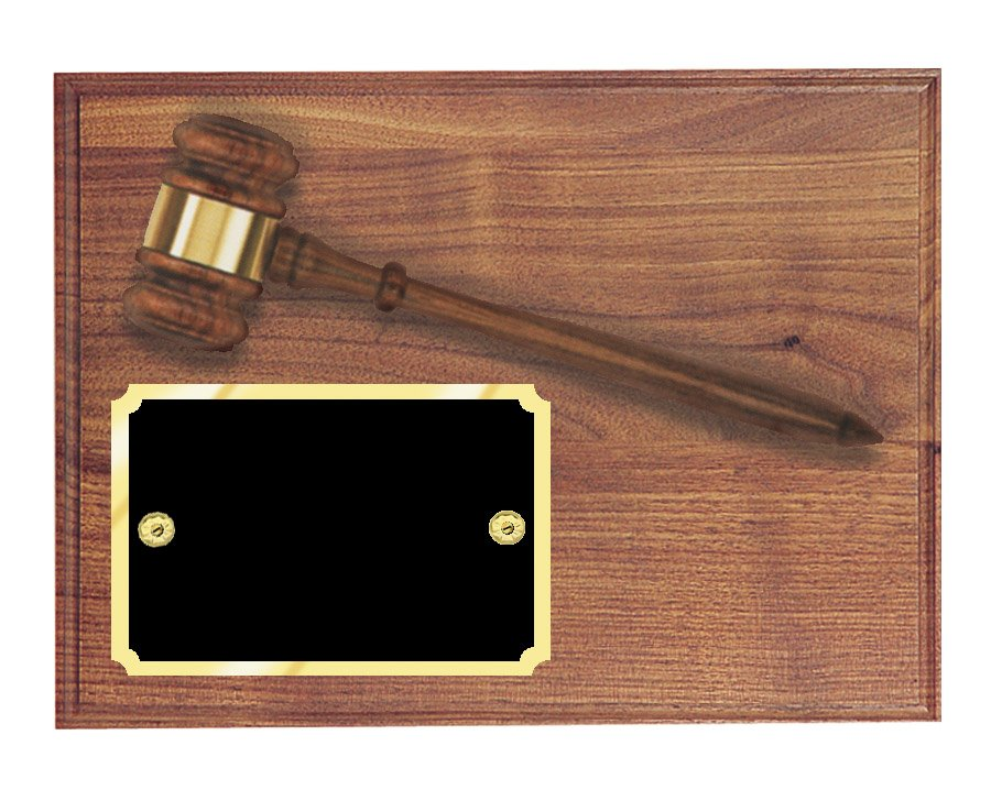 "AGP-20 - Solid Walnut Board and Gavel    Plaque size: 9"" x 12""    Price = $115  (Includes engraved plate)"
