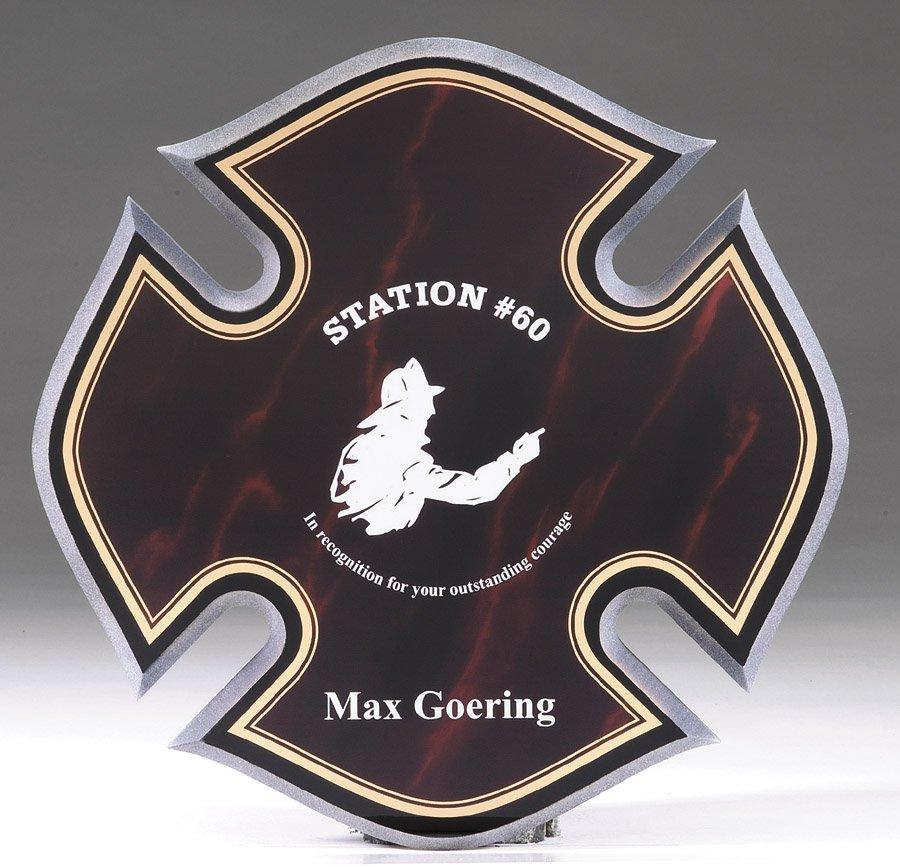 "Maltese Cross - Maroon Marble   10"" x 10"" - CP249 -  $95"