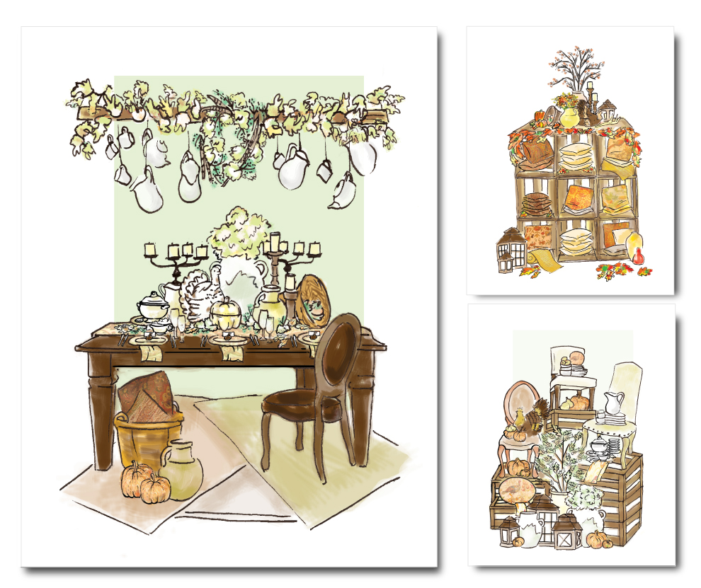 Concept Artist/Illustrator: Hand-rendered Sketches   Worked in partnership with the visual merchandising director in rendering in ink & Photoshop a series of retail presentation concepts based on photo references.  Client: Pottery Barn