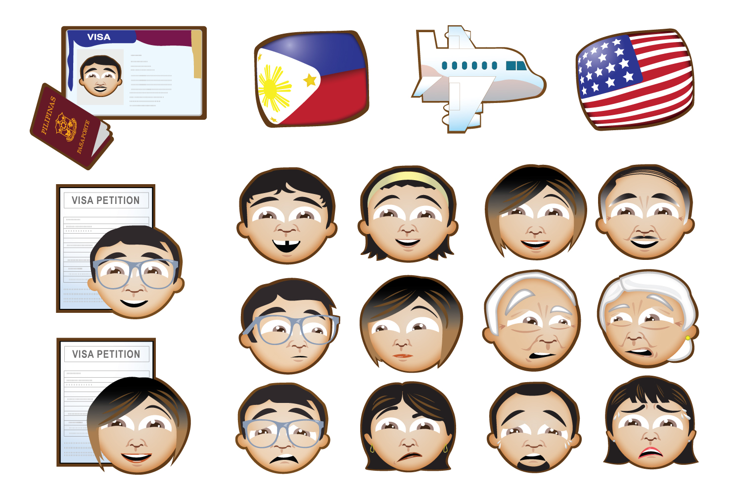 Illustrator/Concept Artist: Icon & Emoji Design   Series of vector iconography used in narratives of a bilingual television series.  Client: Tancino Law Offices/GMA Network