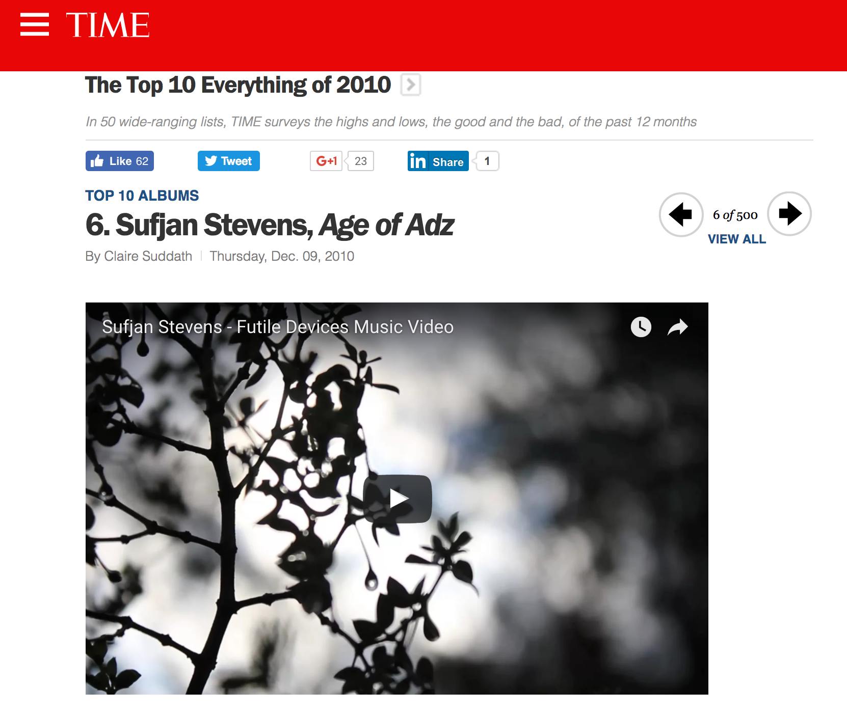 TIME Magazine - Best of 2010 - #6
