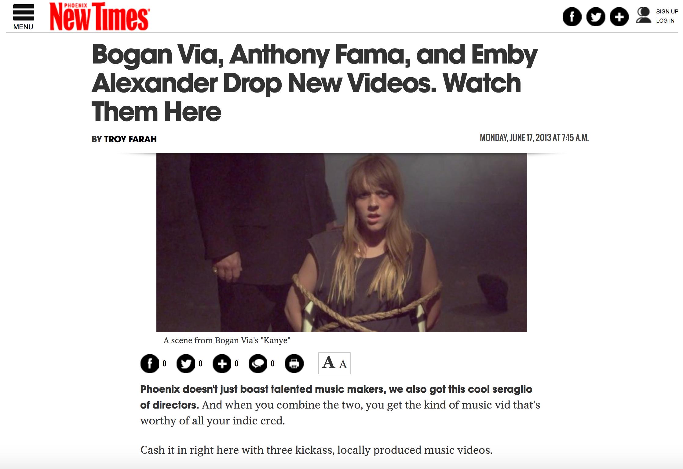 Phoenix New Times - Bogan Via - Kanye Premiere