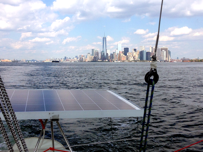 Lower Manhattan and the Freedom Tower astern.