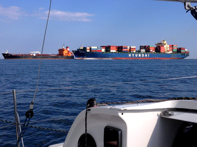 Large cargo ships in Ambrose Channel.