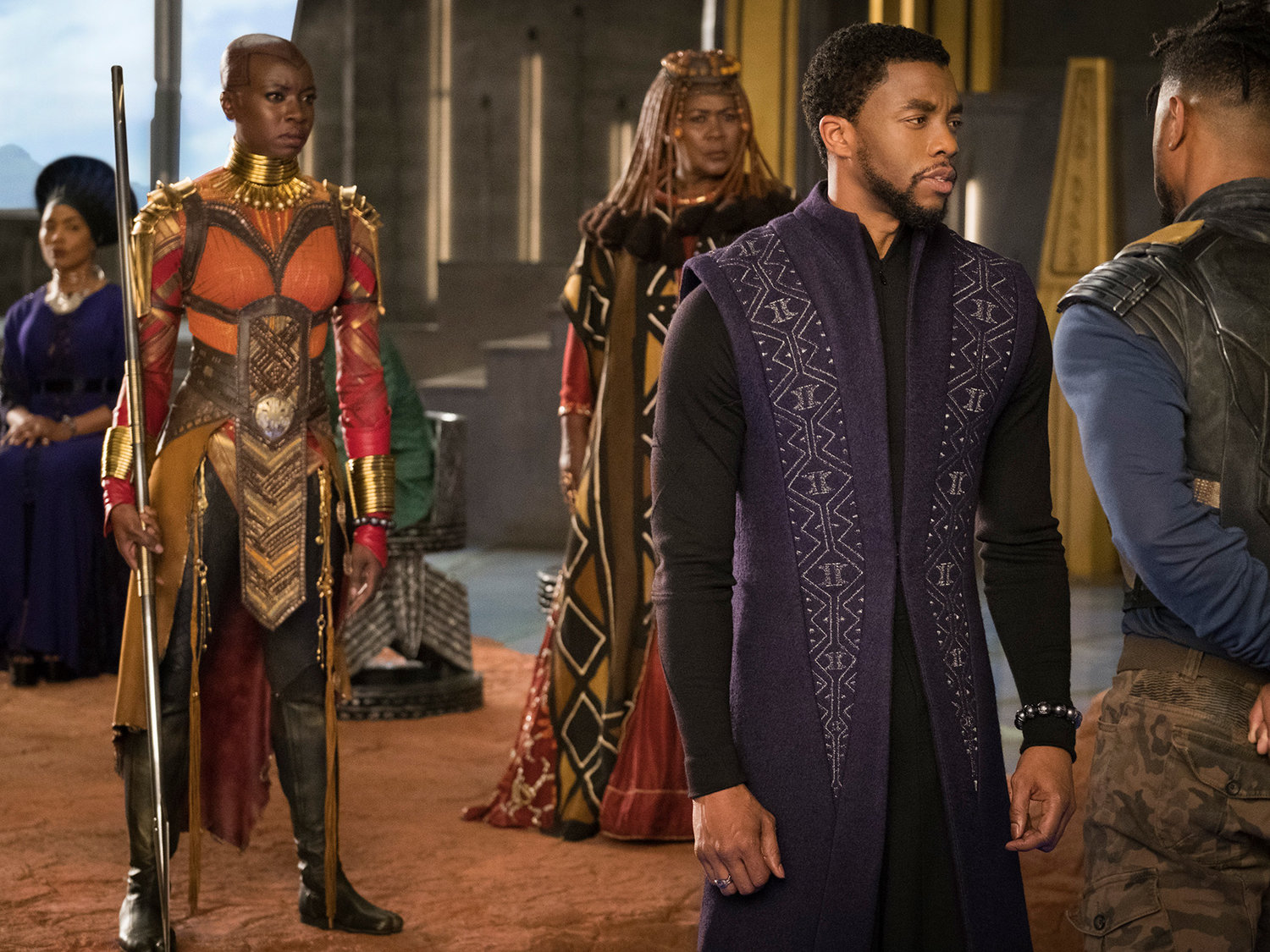 A scene from Black  Panther.  The titular hero, played by Chadwick Boseman, is on the right.Matt Kennedy/Marvel Studios/Getty Images