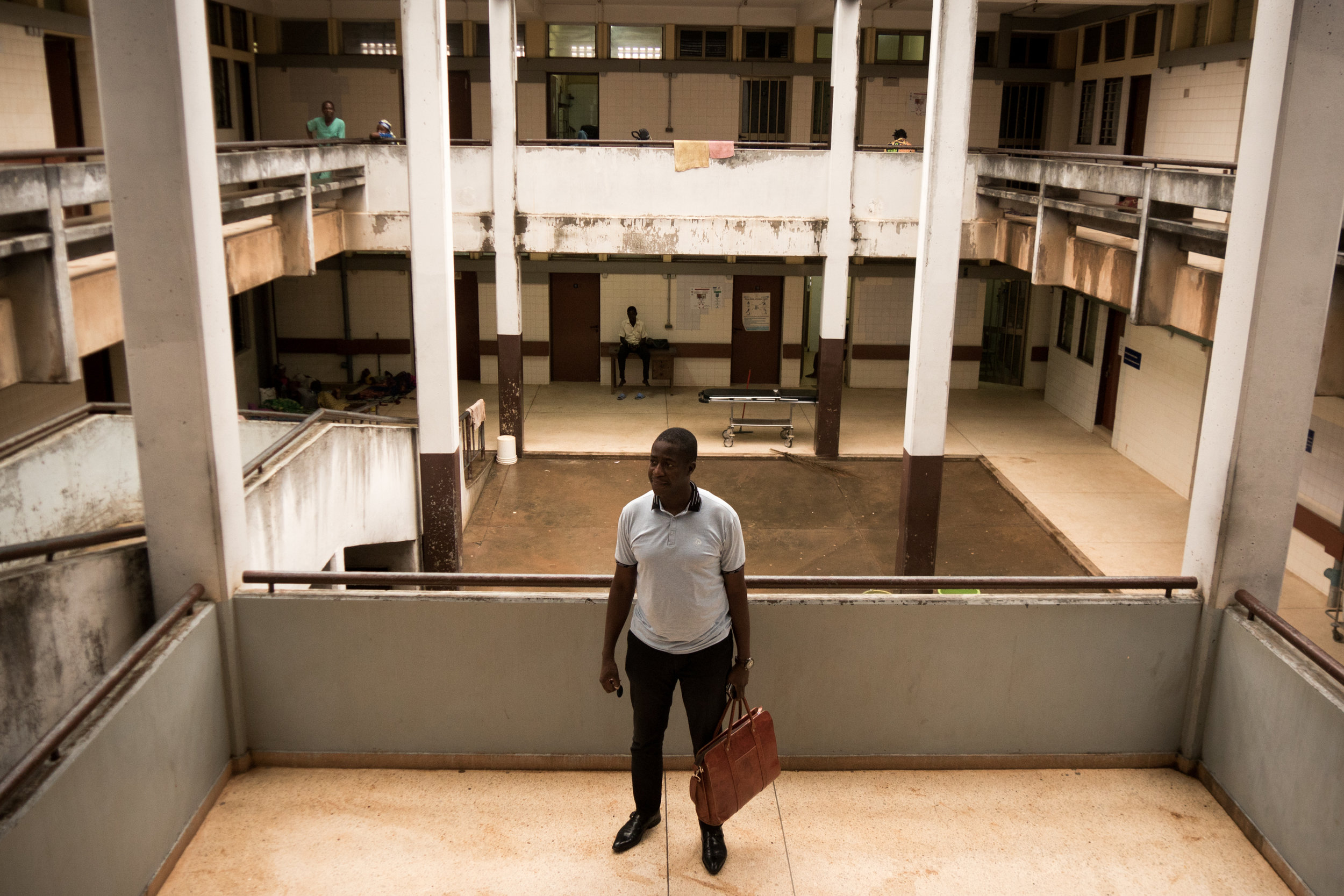 "Dr. David Dosseh helped organize a series of health care worker strikes at Lomé's central hospital, where he is a surgeon. ""When you accept to work in these conditions, you might be complicit in a situation that could cause death,"" he says. (Tim McDonnell)"