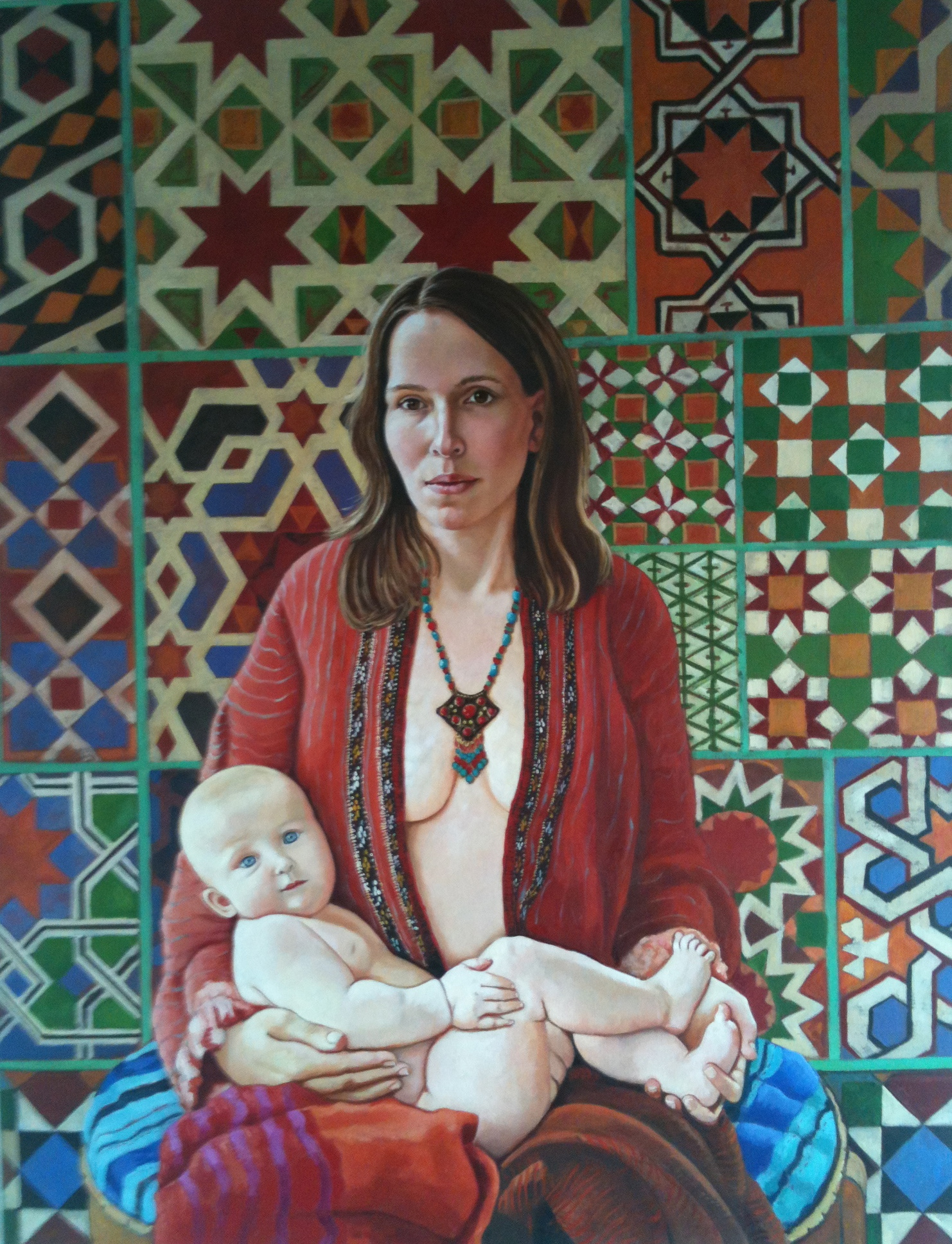 Katerina with Klara, oil on linen 97x127 cm