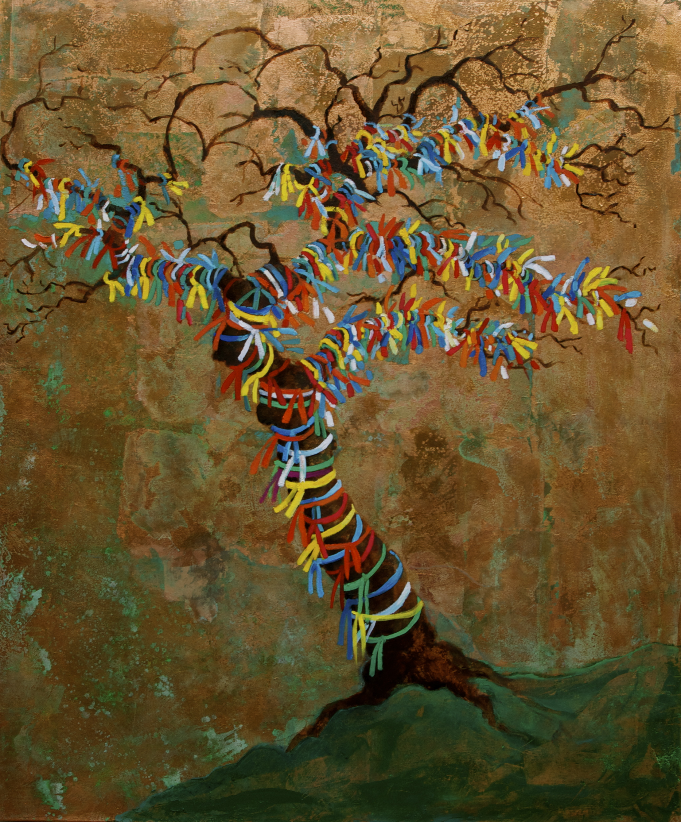 The Wishing Tree- oil and copper leaf on linen