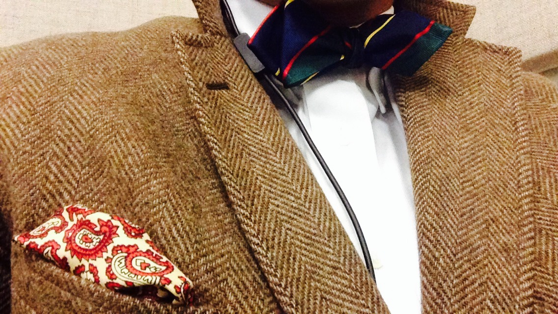 Pocket square and tweed blazer thrifted