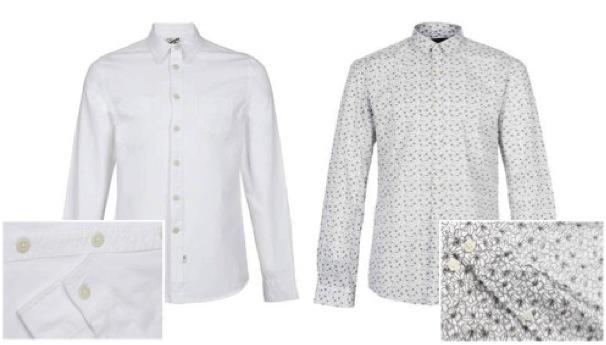 (Left) Topman White Classic Long Sleeve Shirt *(Right) Selected Homme Print Shirt*