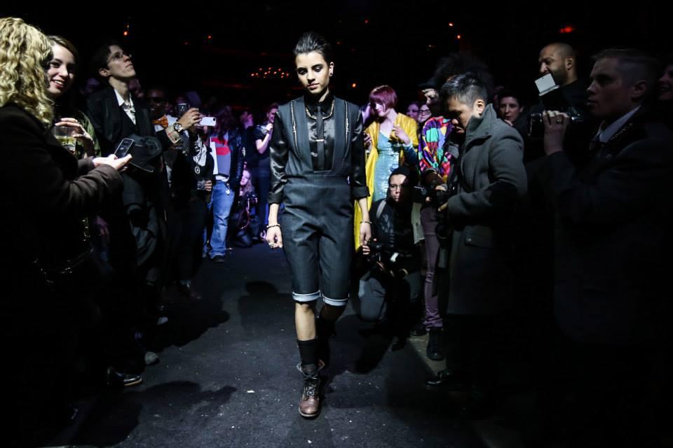 Model Kris Konnaris wearing Designer Angie Chuang