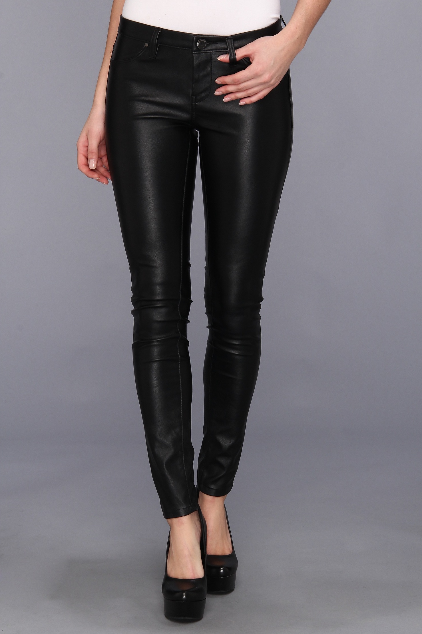 Blank NYC The Spray On Vegan Leather Skinny in Blacked Out, $87.99 at Zappos