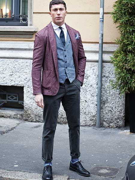 Deconstructed blazer and vest : Dapper with a twist in deconstructed style, and look at those colors!